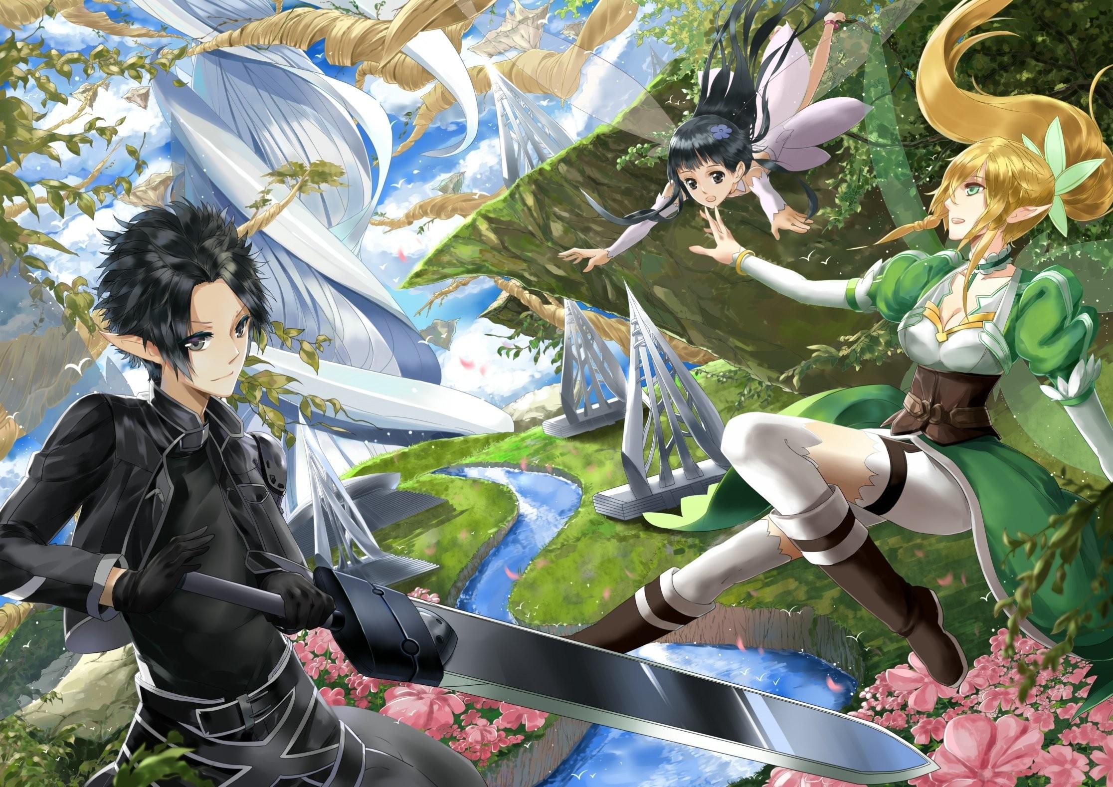 Forest weapon sao Elves sword swordsman online Fairy Yggdrasil Yui river  Flowers alo Kirito Bodice Trees wallpaper | | 495592 | WallpaperUP