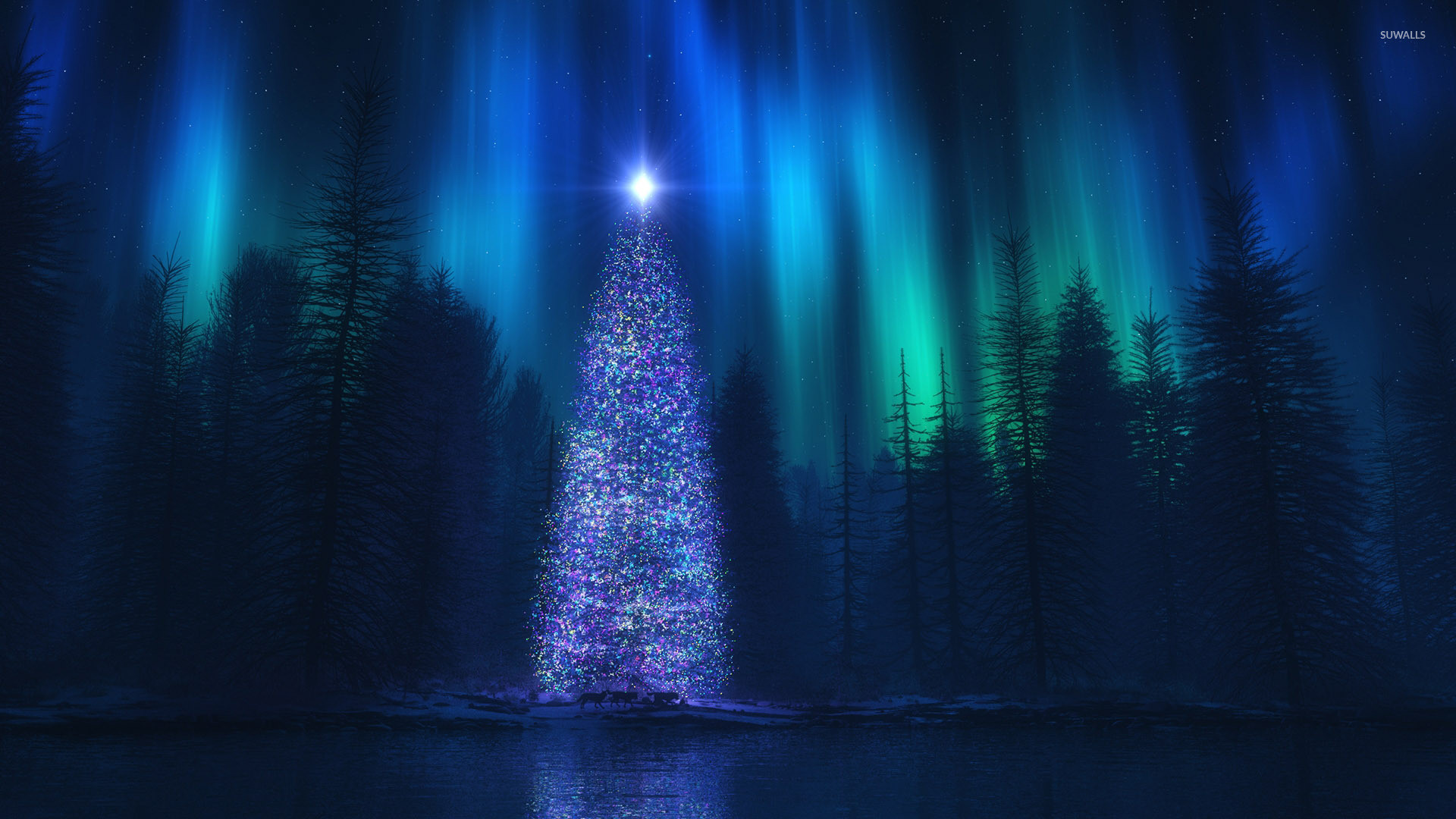 Christmas tree in the forest wallpaper jpg