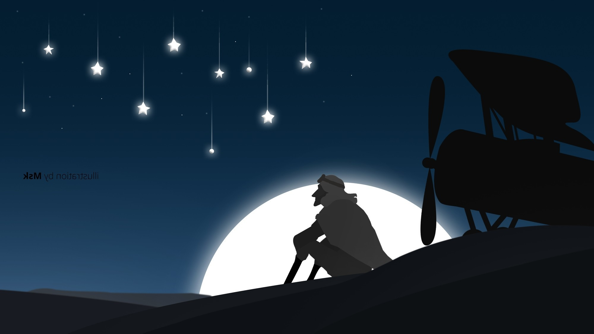 illustration, Adobe Illustrator, Photoshop, Movies, The little prince,  Landscape, Moonlight, Stars, Airplane, Sahara Wallpapers HD / Desktop and  Mobile …