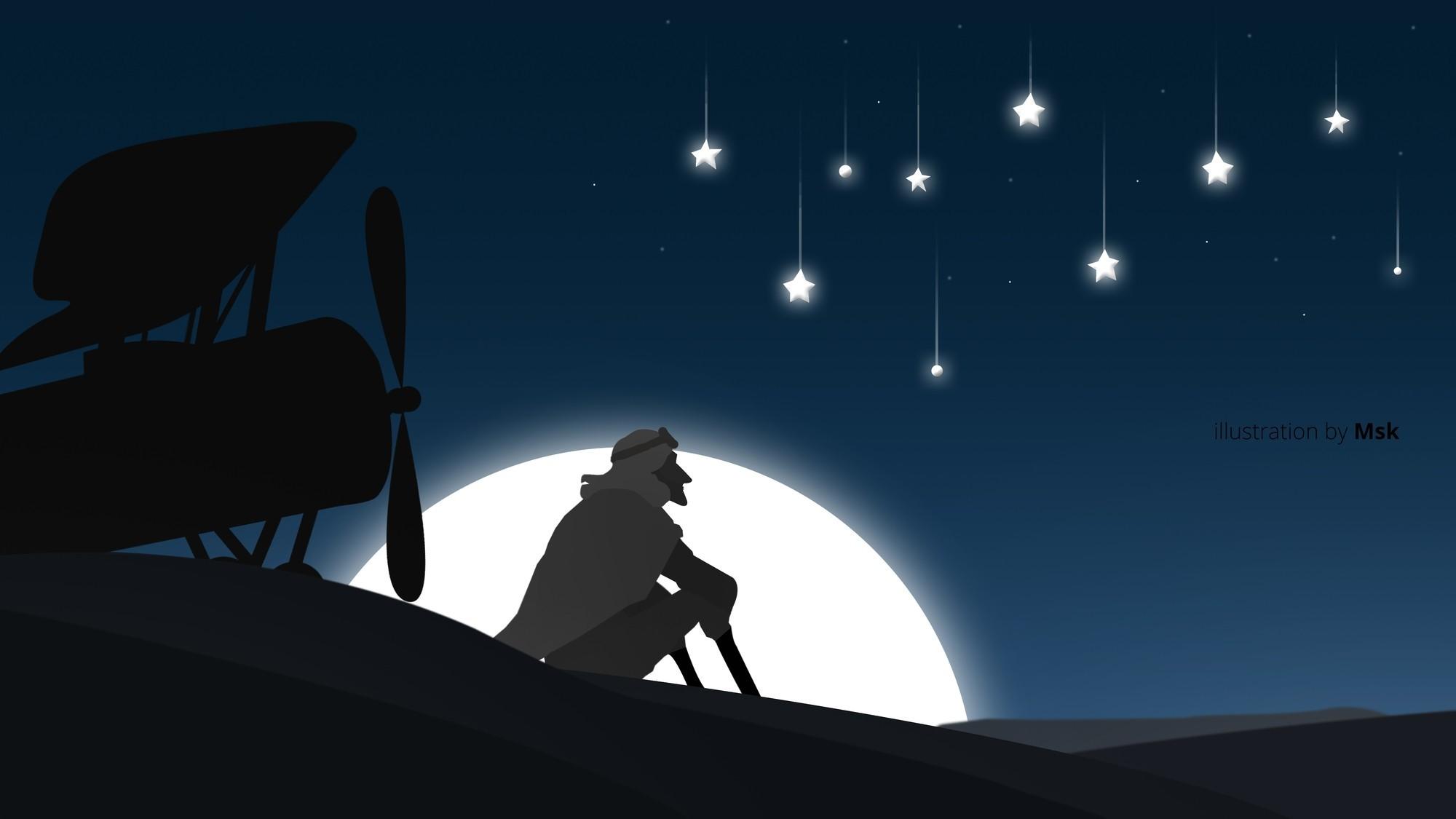 General illustration Adobe Illustrator Photoshop movies the  little prince landscape moonlight stars airplane Sahara