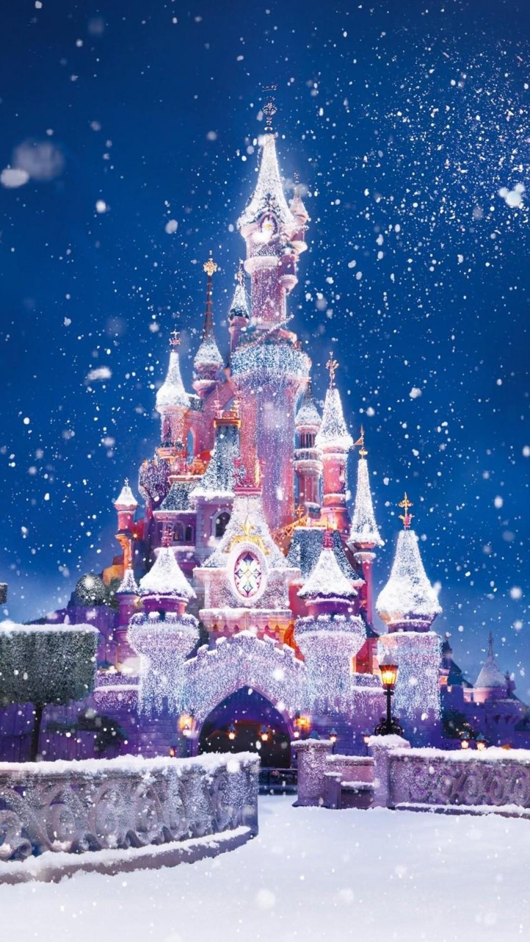 Disney Castle Christmas Lights Snow Android Wallpaper.jpg