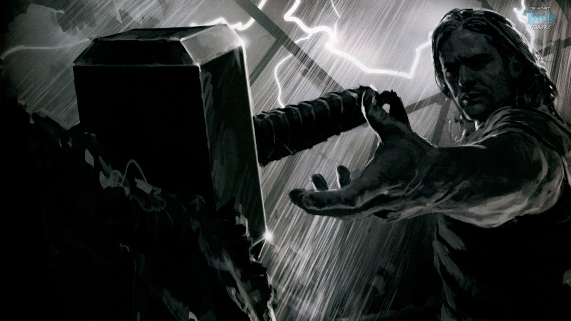 Thor Reaching Out to His Mjolnir Hammer in Thor Movie Concept Art (1920 x  1080