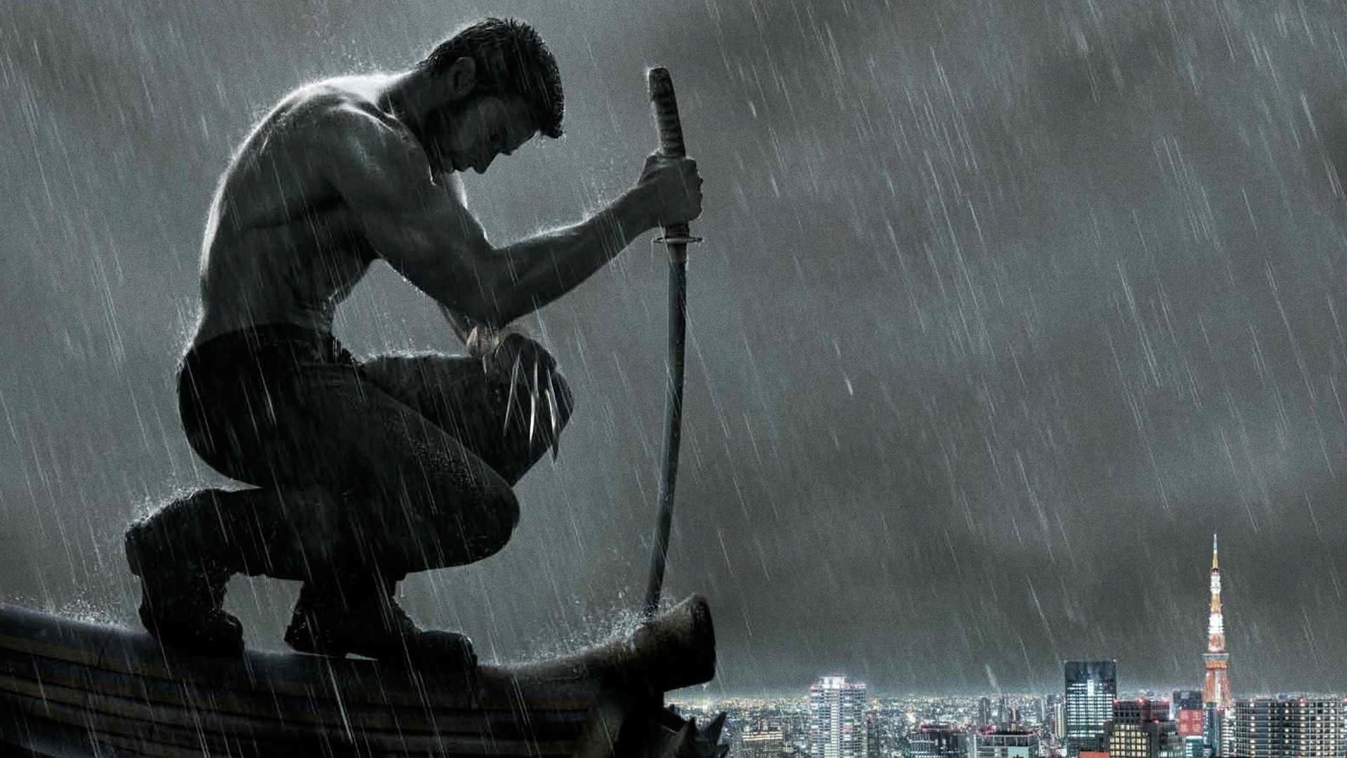 wolverine heavy rain katana hugh jackman paris