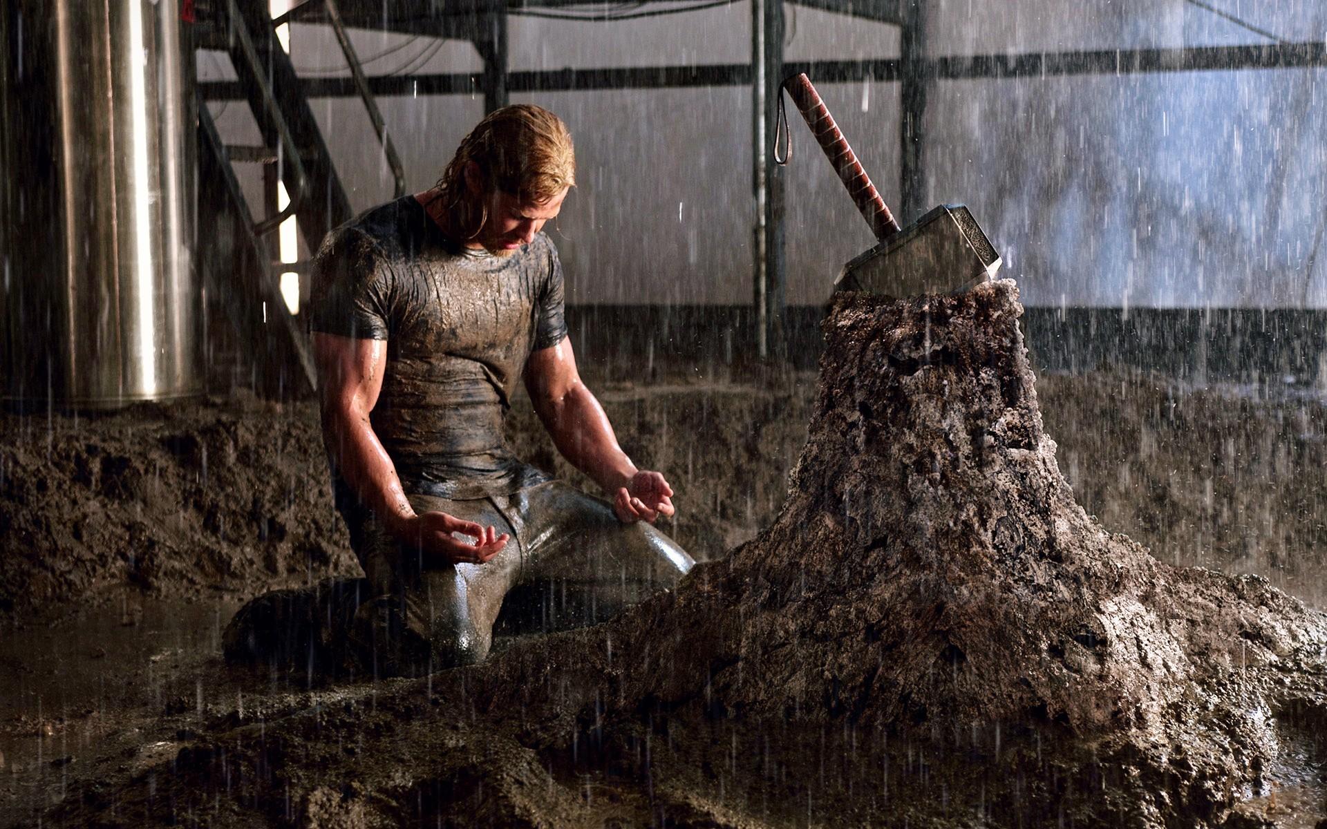 Rain thor men mud kneeling chris hemsworth thor (movie) mjolnir wallpaper      20046   WallpaperUP