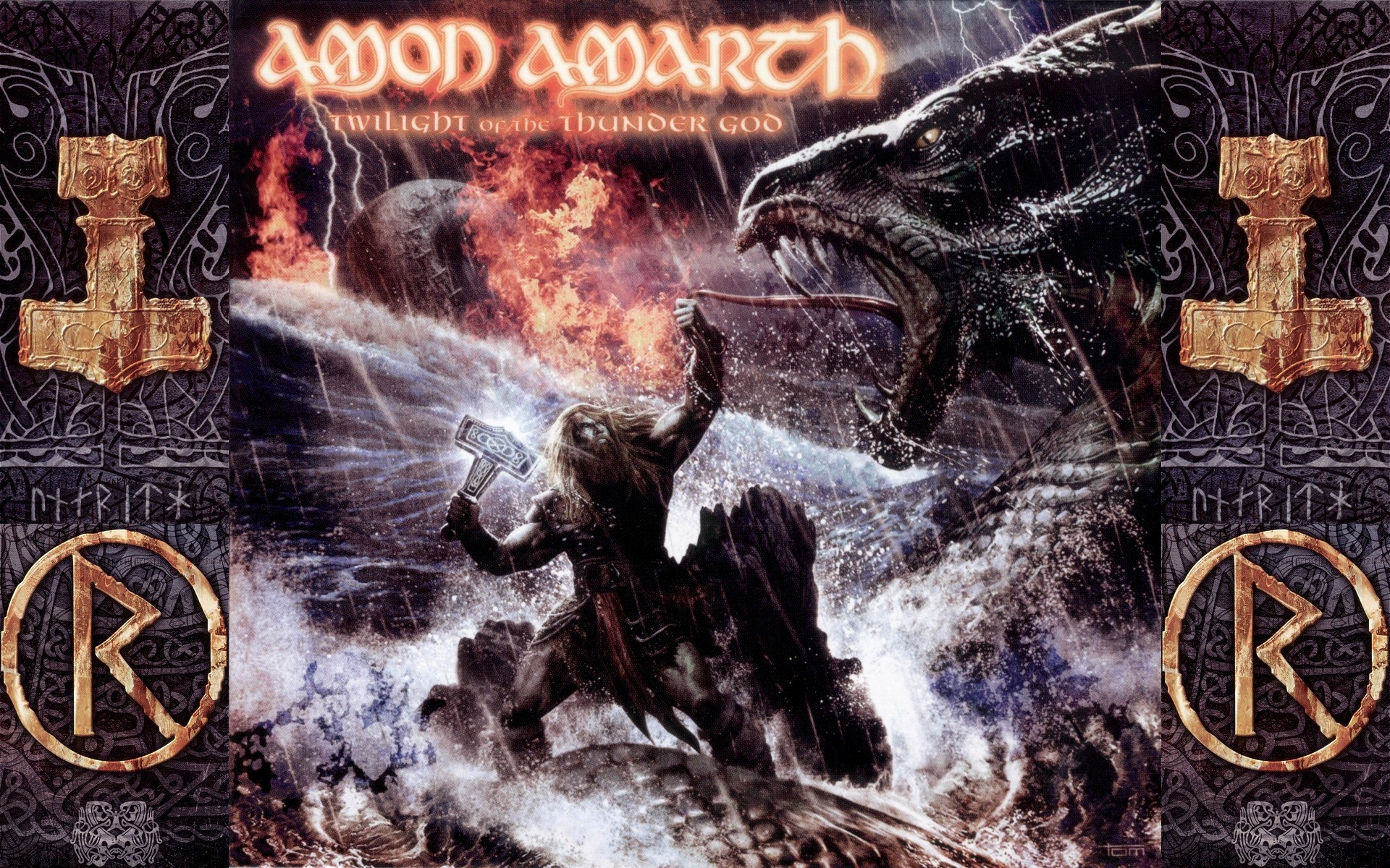 music, Metal Music, Amon Amarth, Vikings, Heavy Metal, Fire, Dragon, Thor, Hammer  Wallpapers HD / Desktop and Mobile Backgrounds