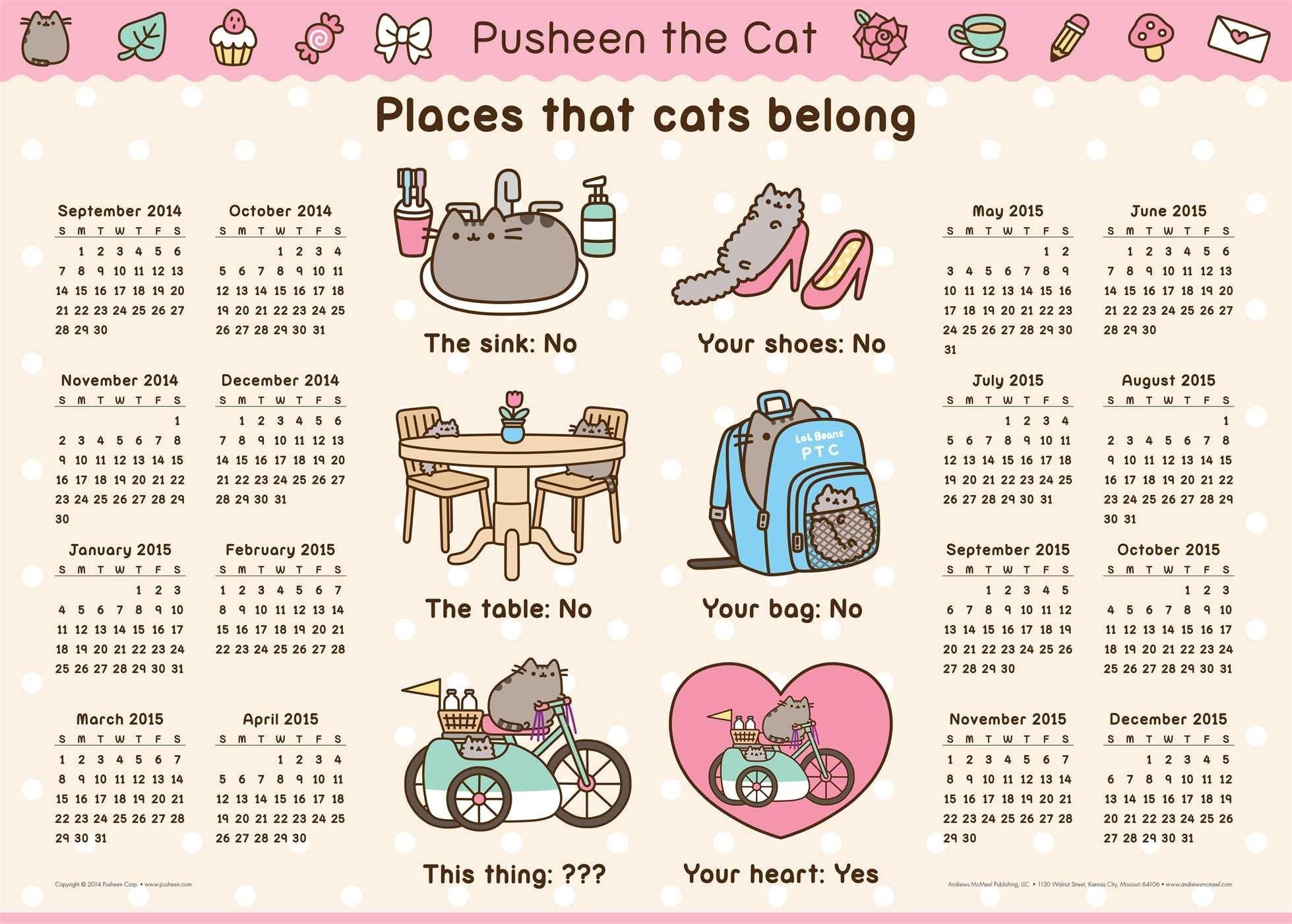Pusheen the Cat 2014-15 16-Month Calendar Poster: Claire Belton:  9781449458362: Amazon.com: Books