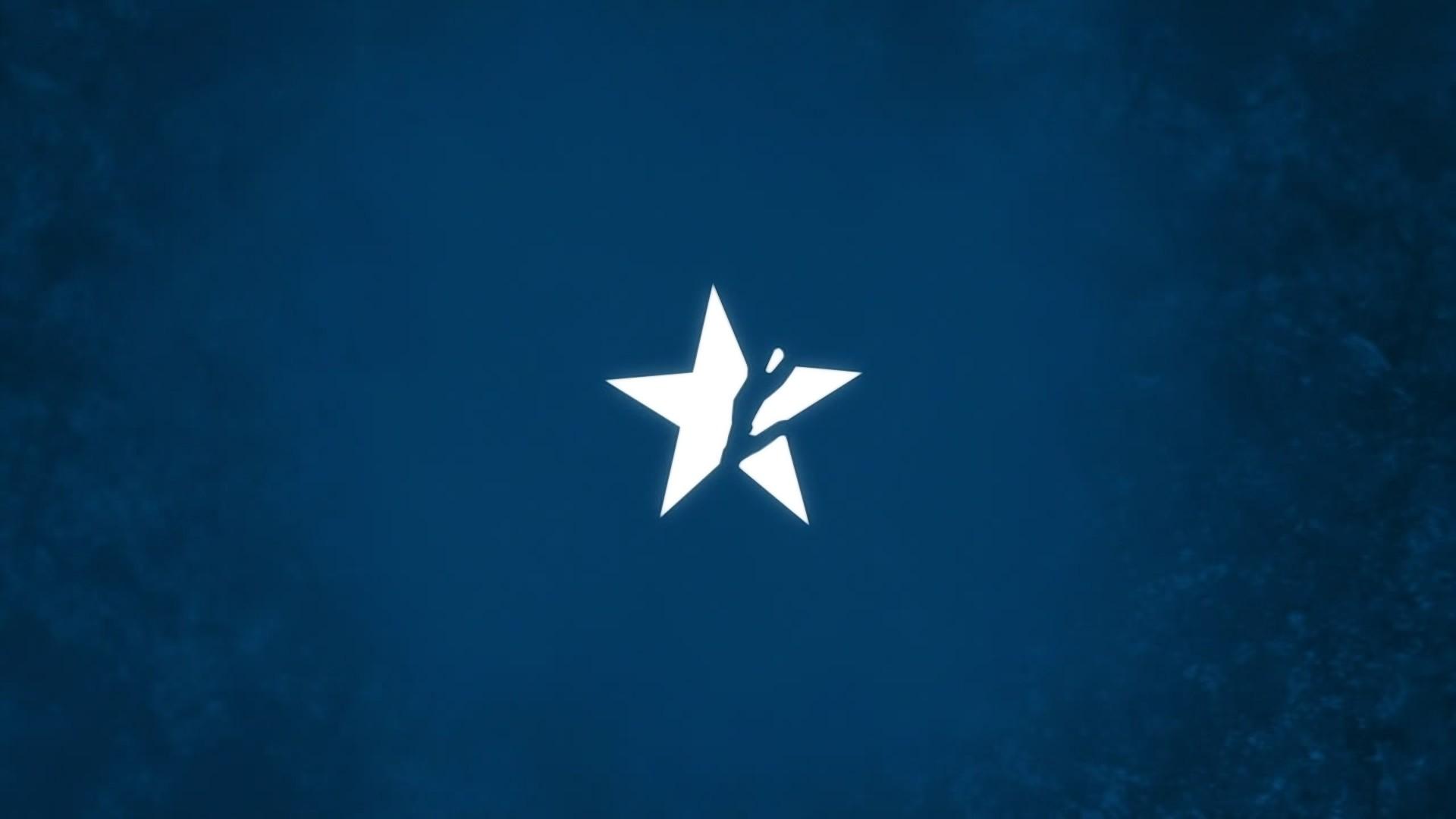 blue minimalistic black rock shooter stars broken symbol insane black rock  shooter wall Art HD