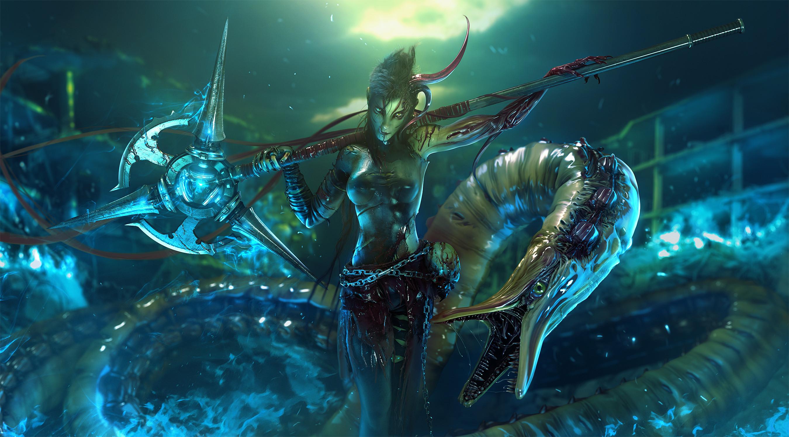 Fantasy – Sea Monster Magic Magical Magician Sorcerer Sorceress Fantasy  Wallpaper