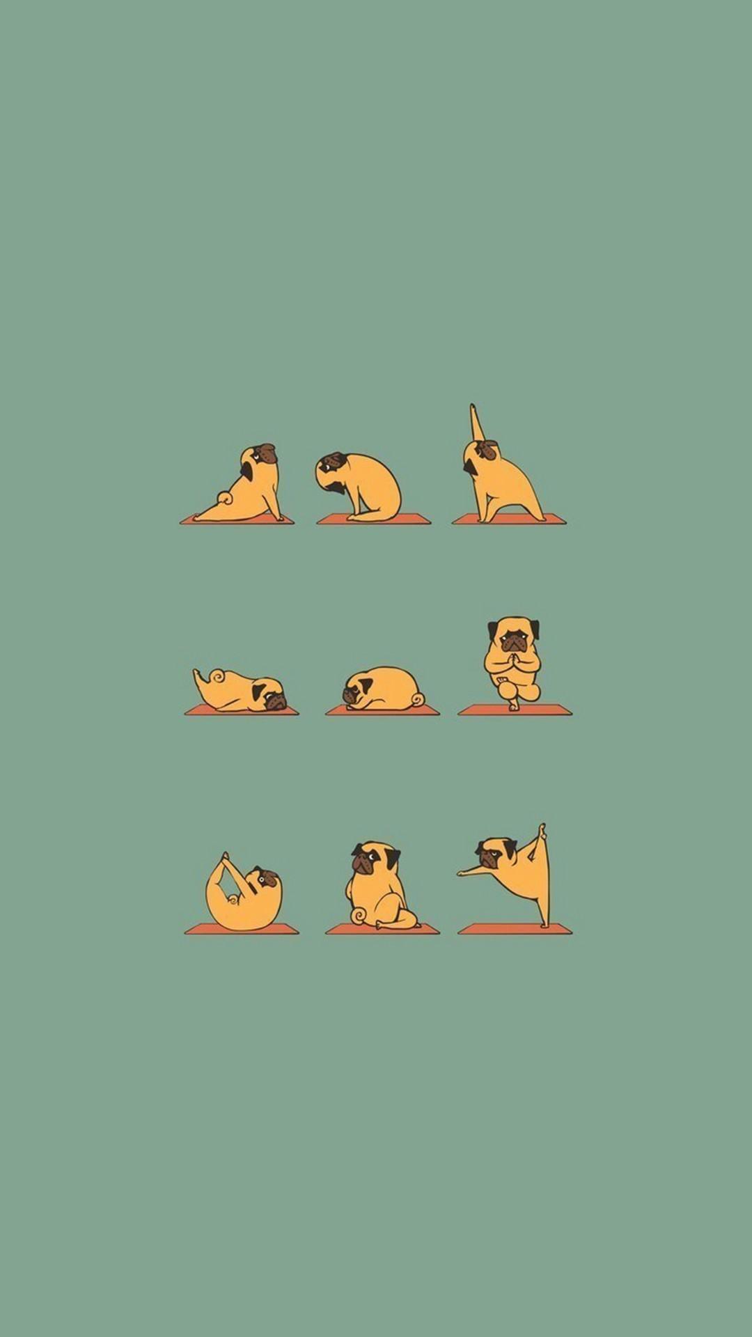 Funny Pug Doing Yoga iPhone 8 wallpaper