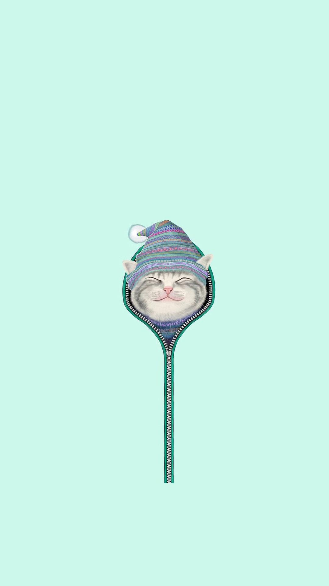 Funny Cat Zipper Fur Cap Hat iPhone 6+ HD Wallpaper – https://