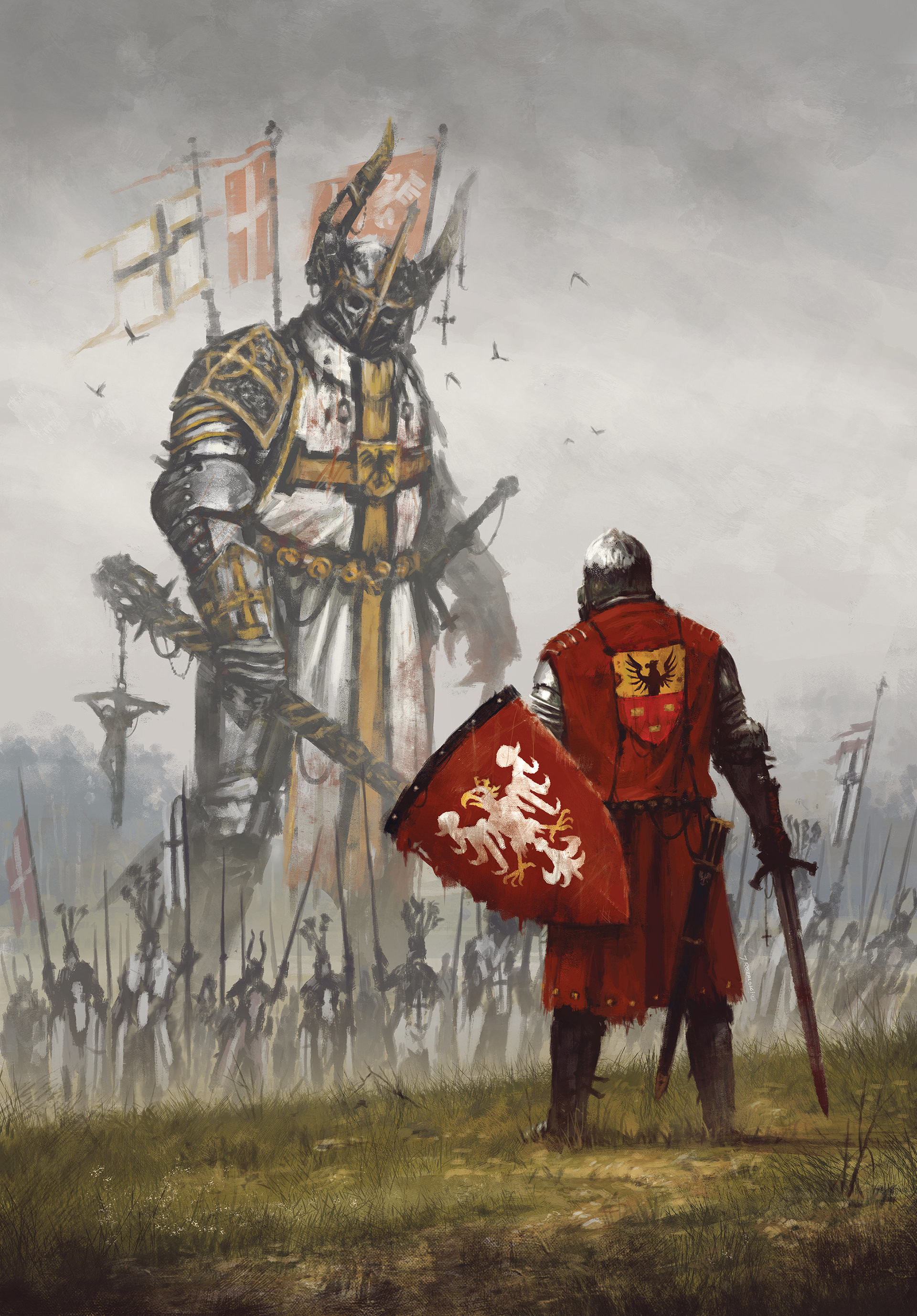 my new painting commemorating the Battle of Grunwald, where the combined  forces of Polish and Lithuanian knights, crushed the power of the Teutonic  Order.