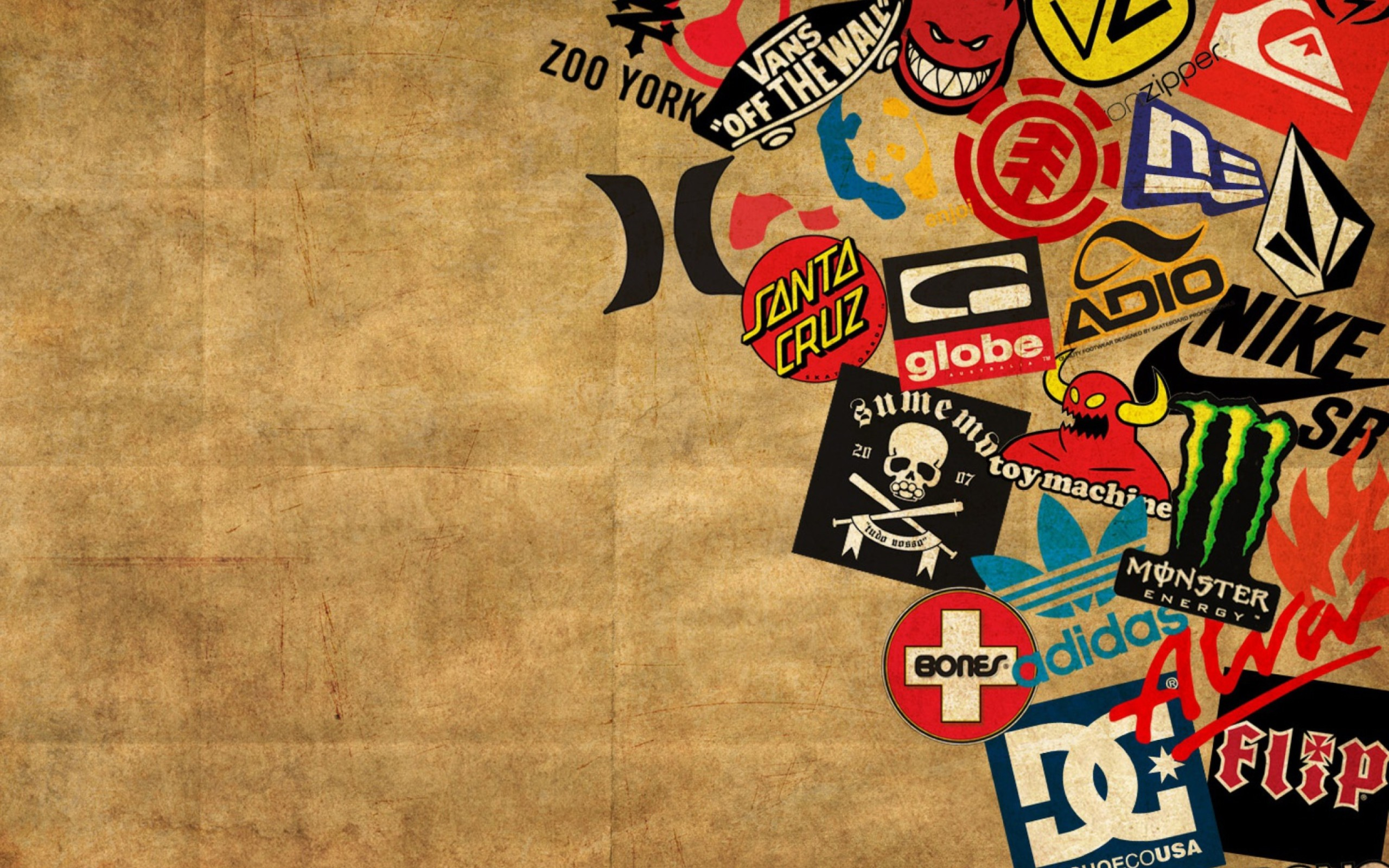 Skateboard Logos , QUIKSILVER, ToyMachine, ZOO YORK, VANS .