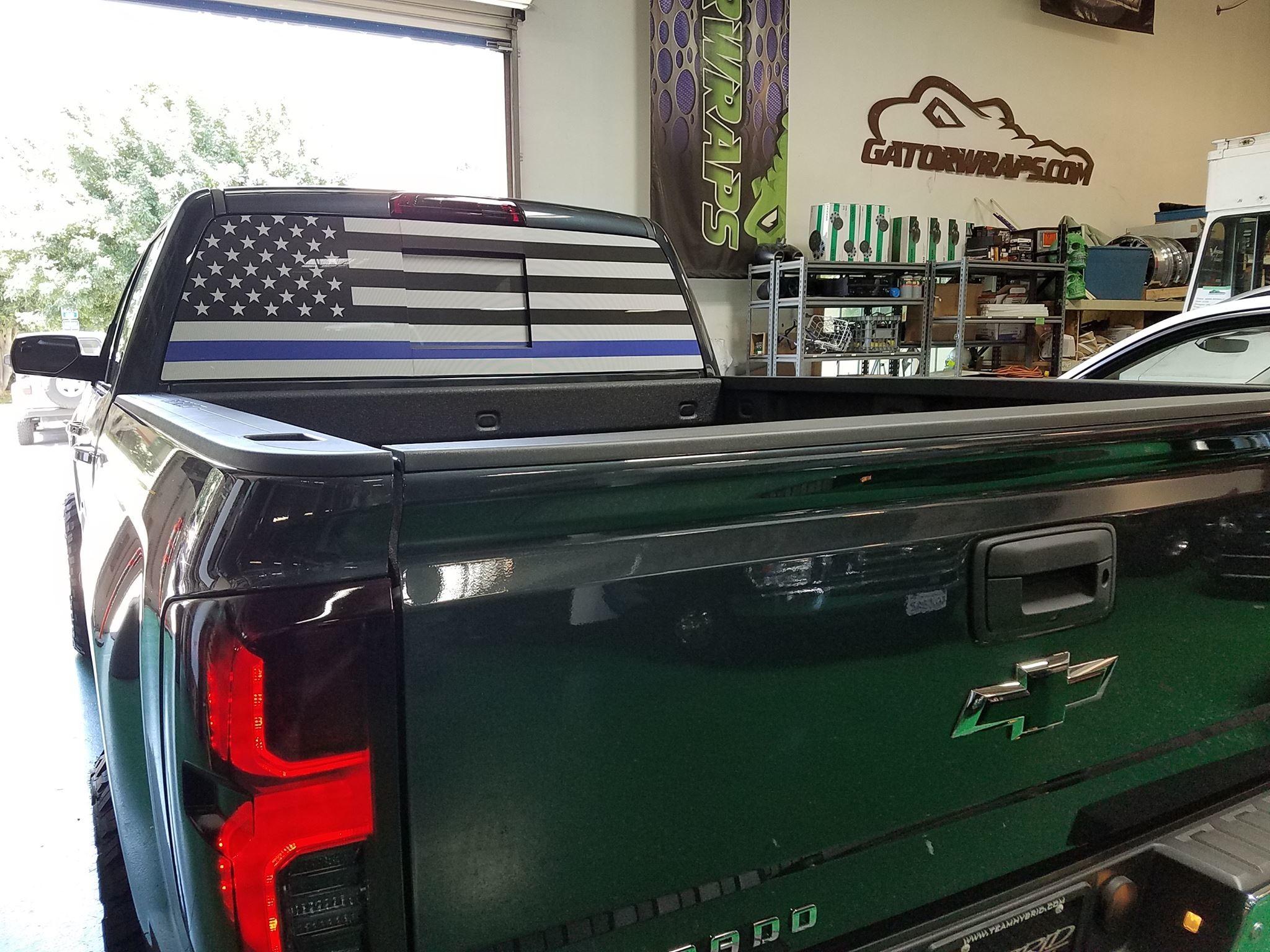 Thin Blue Line Flag – Chevy Silverado Window Perf