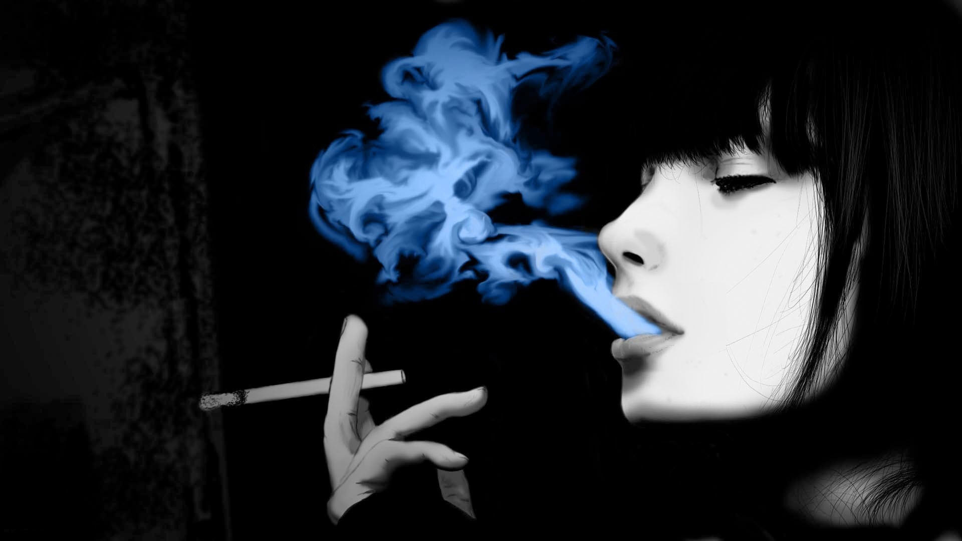 hd pics photos attractive girl smoking blue smoke animated hd quality  desktop background wallpaper