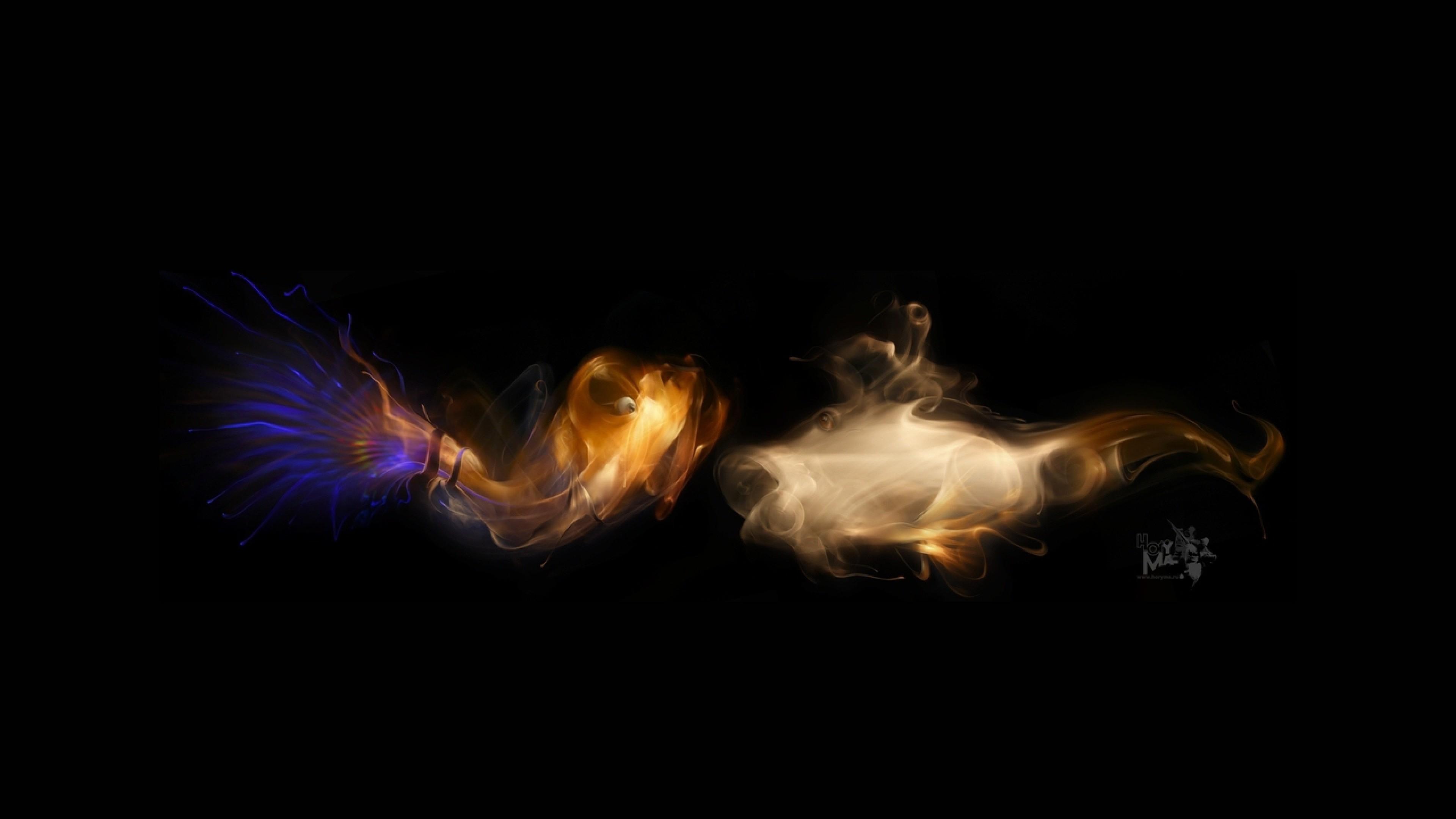 Preview wallpaper smoke, dark backgrounds, light, figure 3840×2160