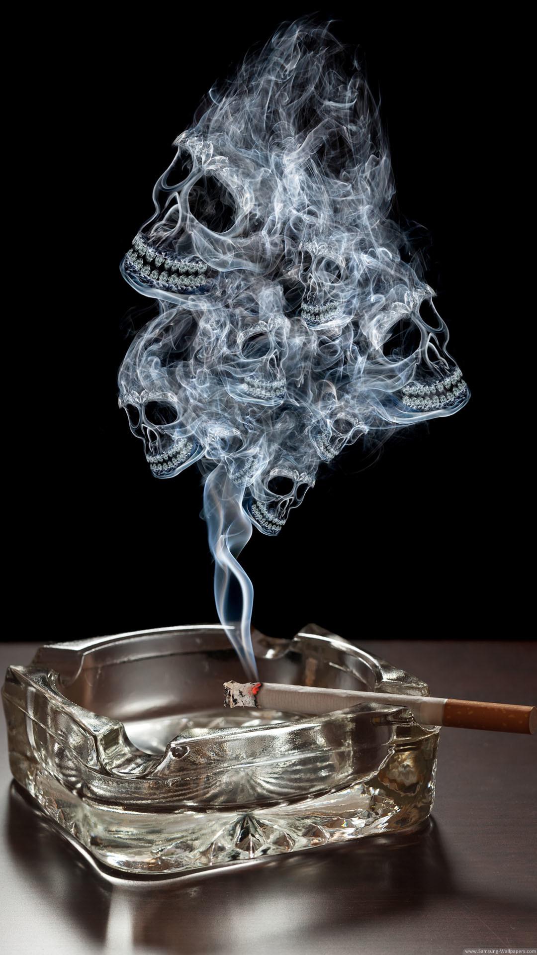 Smoke Skulls Ashtray Burning Cigarette iPhone 6 Plus HD Wallpaper