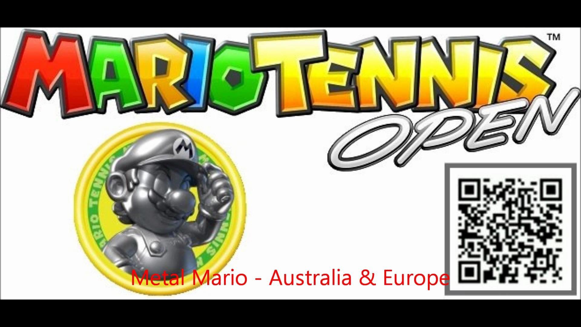 Mario Tennis Open 3ds QR CODE! Metal Mario – Australia & Europe