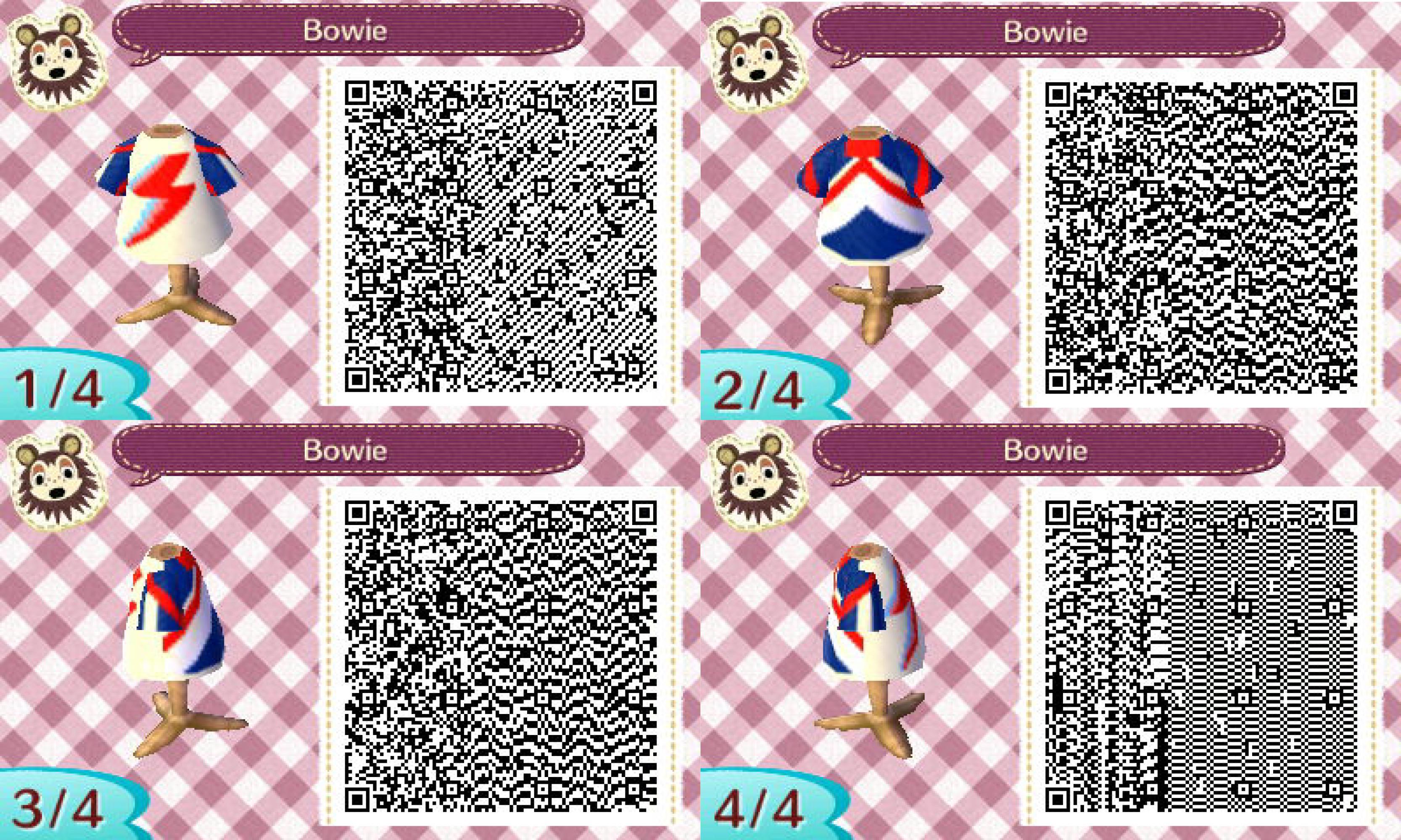 Animal Crossing New Leaf Bowie Design #acnl #animalcrossing #newleaf  #Nintendo #3DS