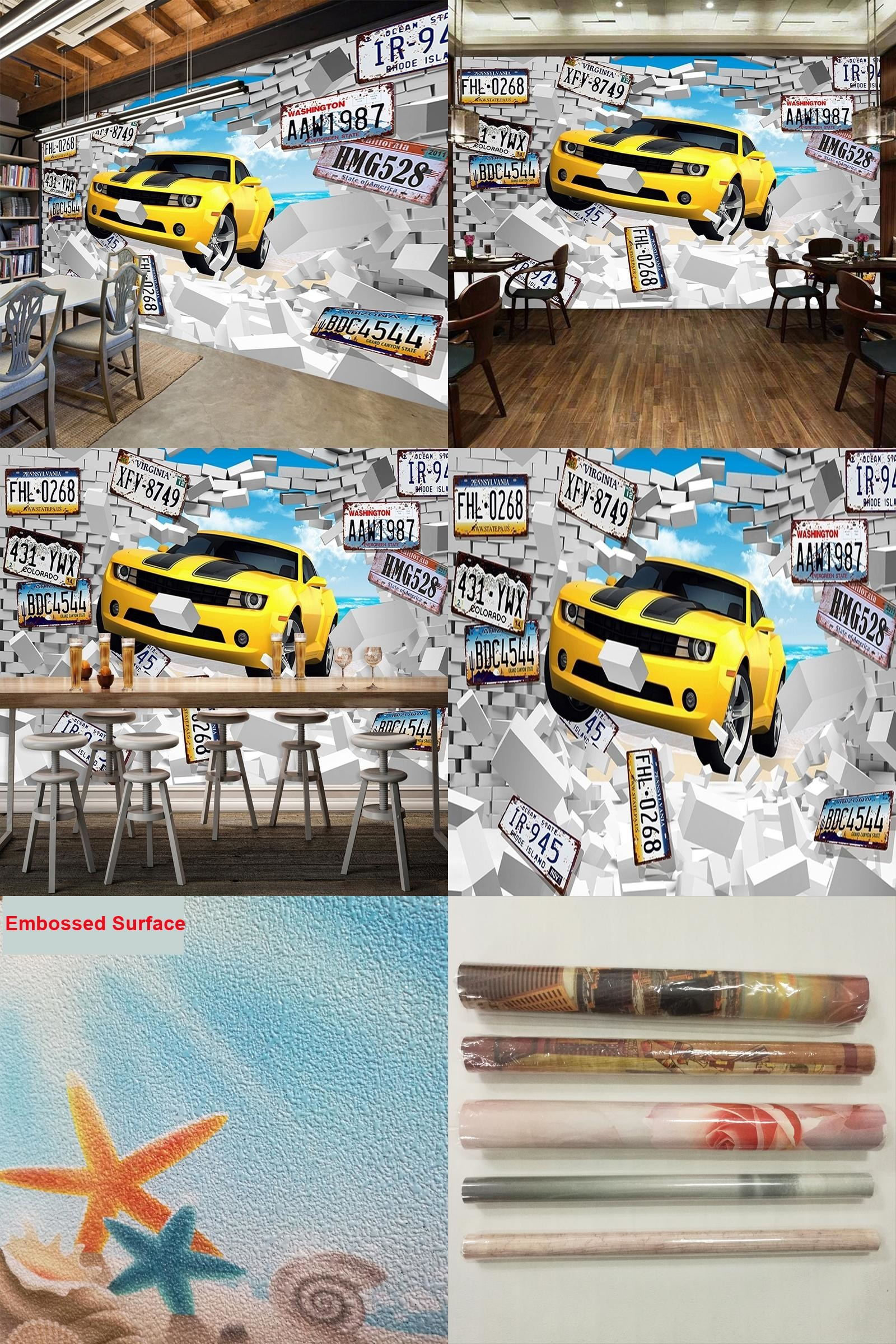 [Visit to Buy] Custom Photo Mural Wallpaper Large Wall Painting 3D  Personalized License Plate