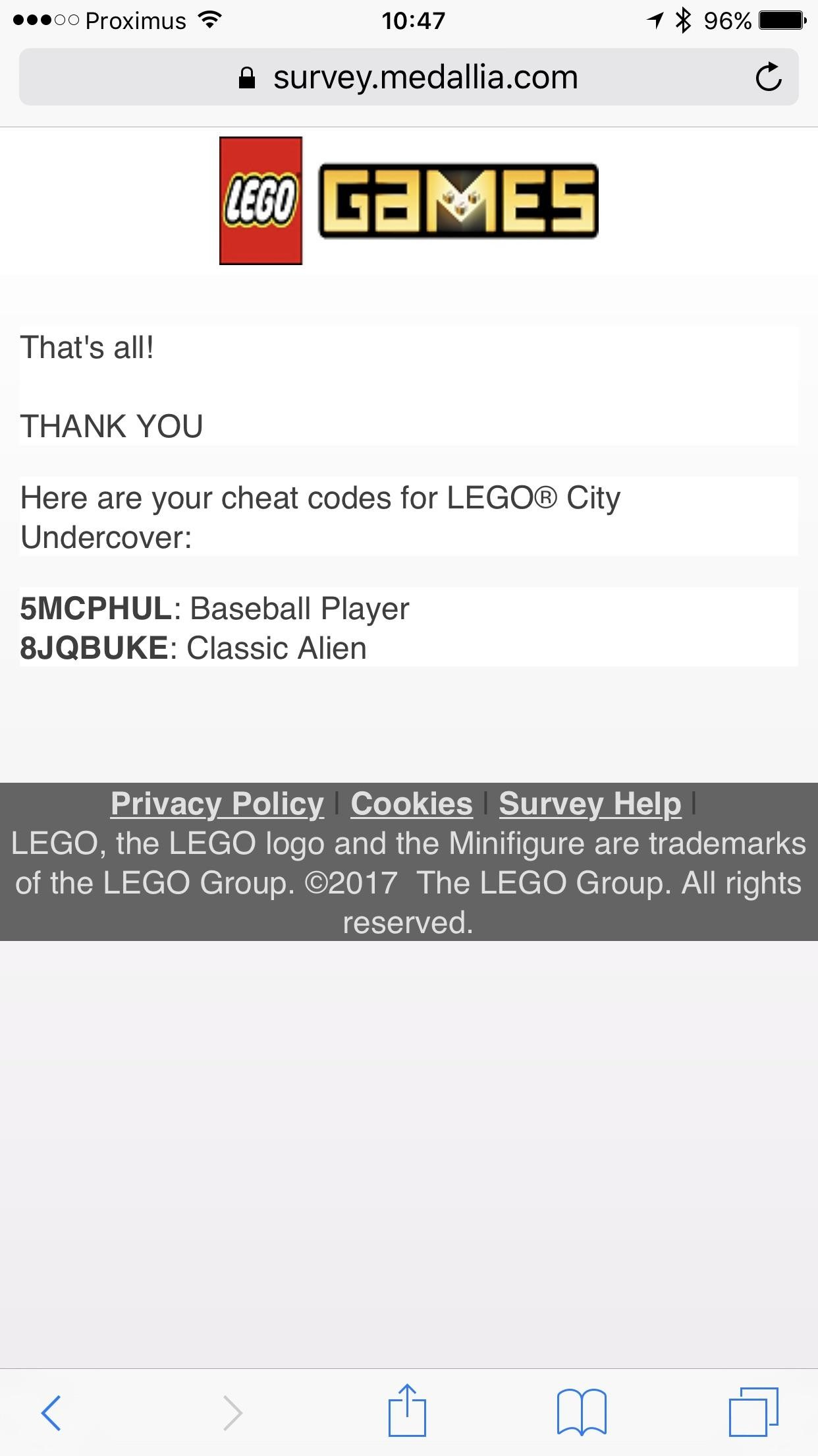 Game TipCompleting the Lego City Undercover Survey gives you two cheat codes  …