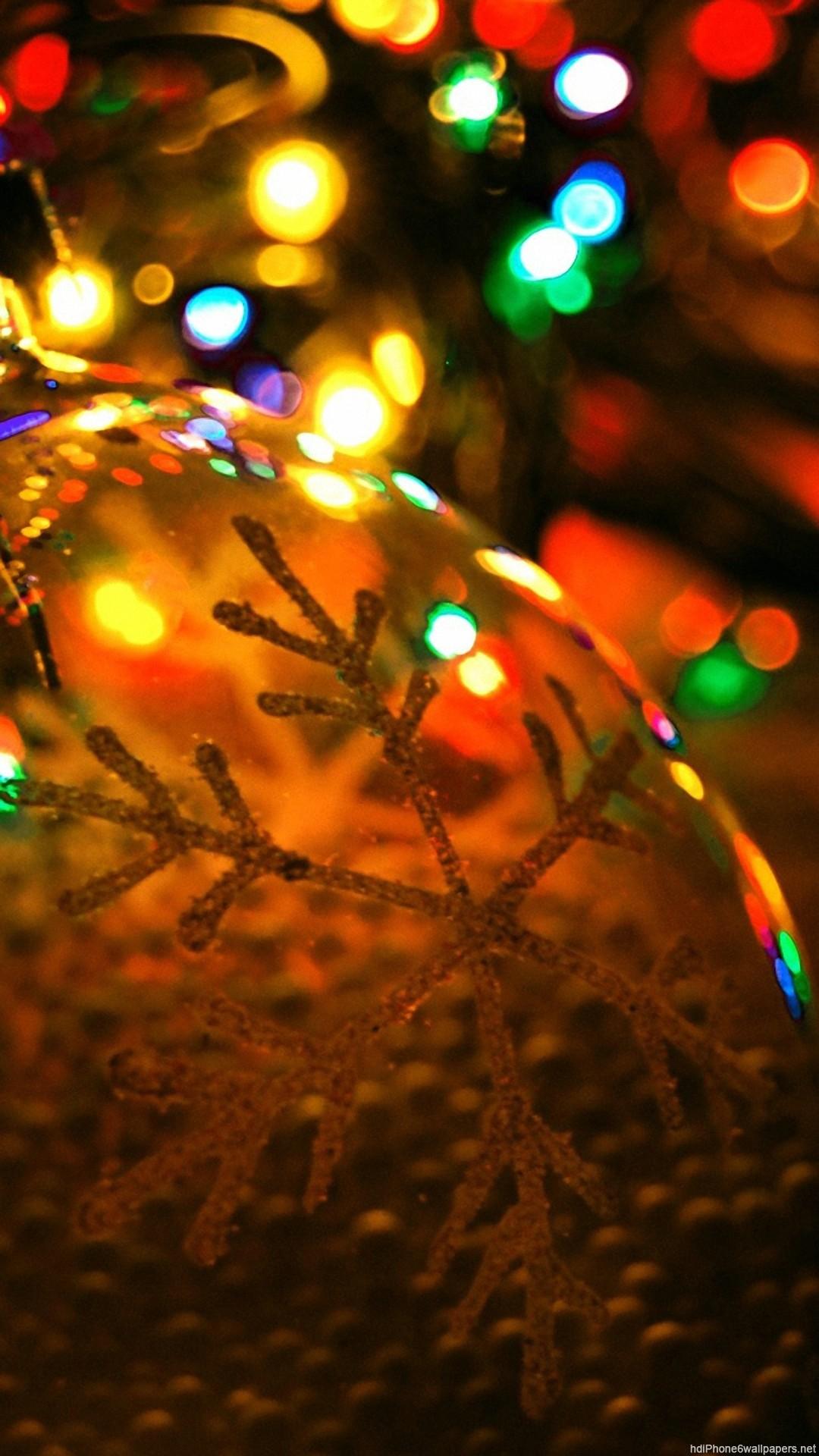 HD light christmas happy snow iphone 6 wallpaper