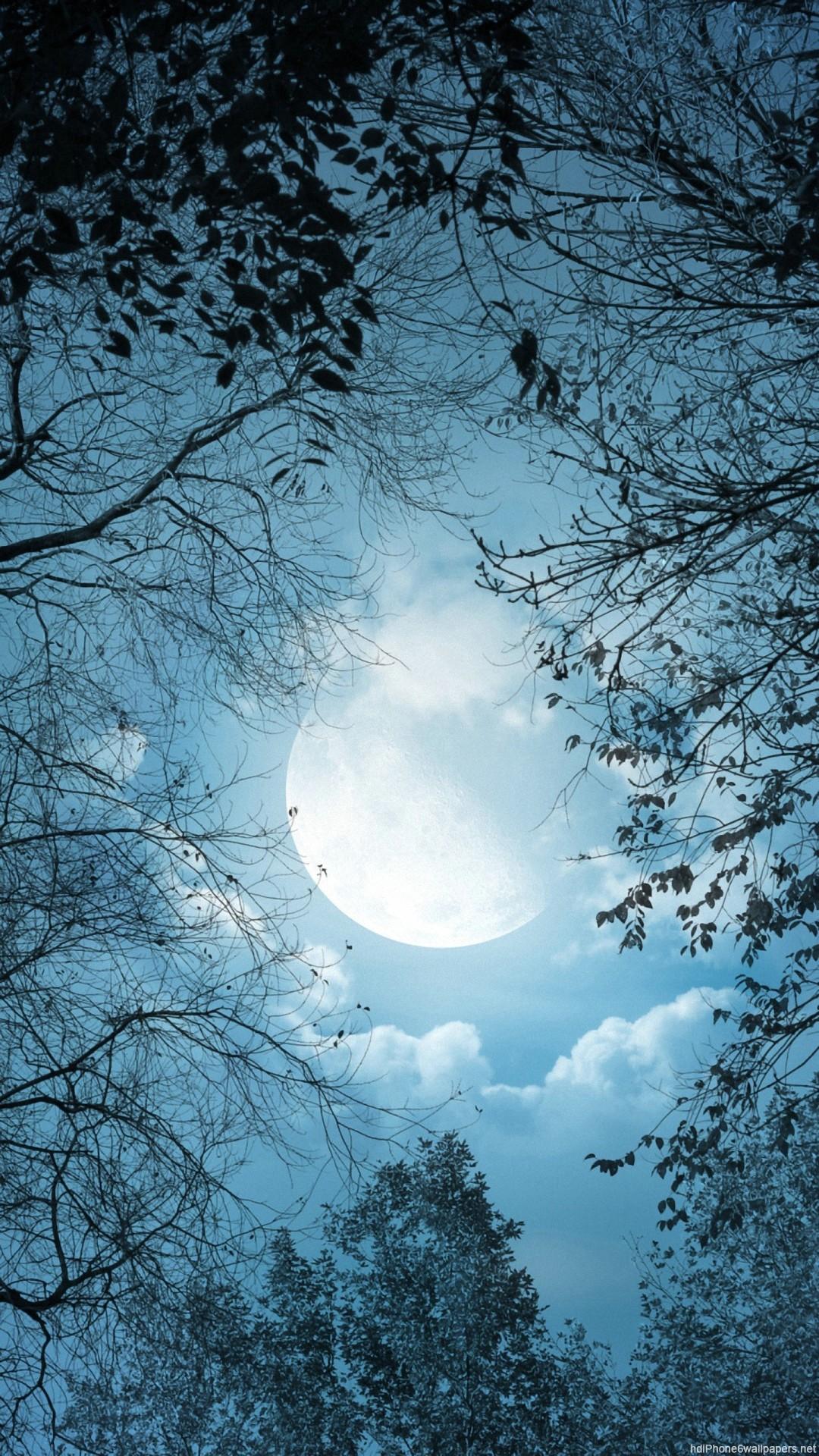 HD night clouds moon iphone 6 wallpaper