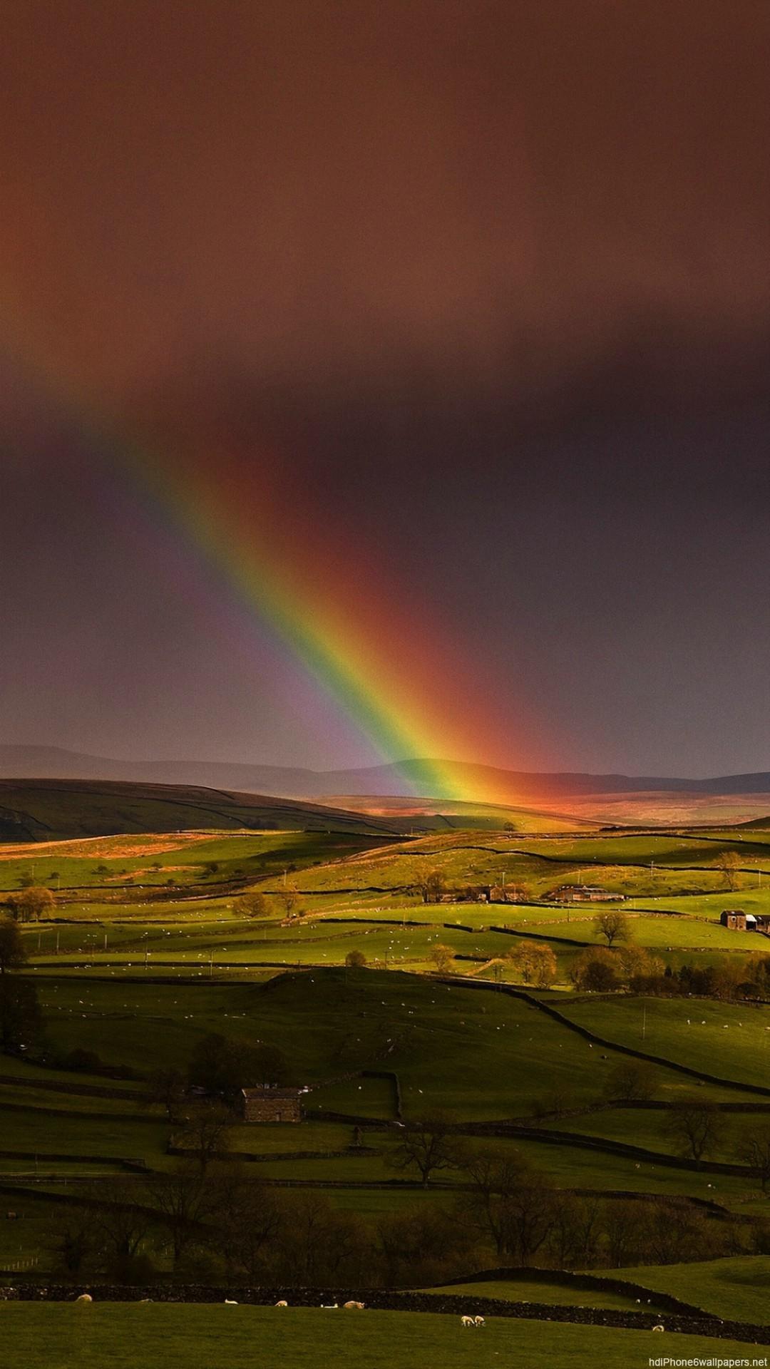 HD spring sky rainbow hill iphone 6 wallpaper