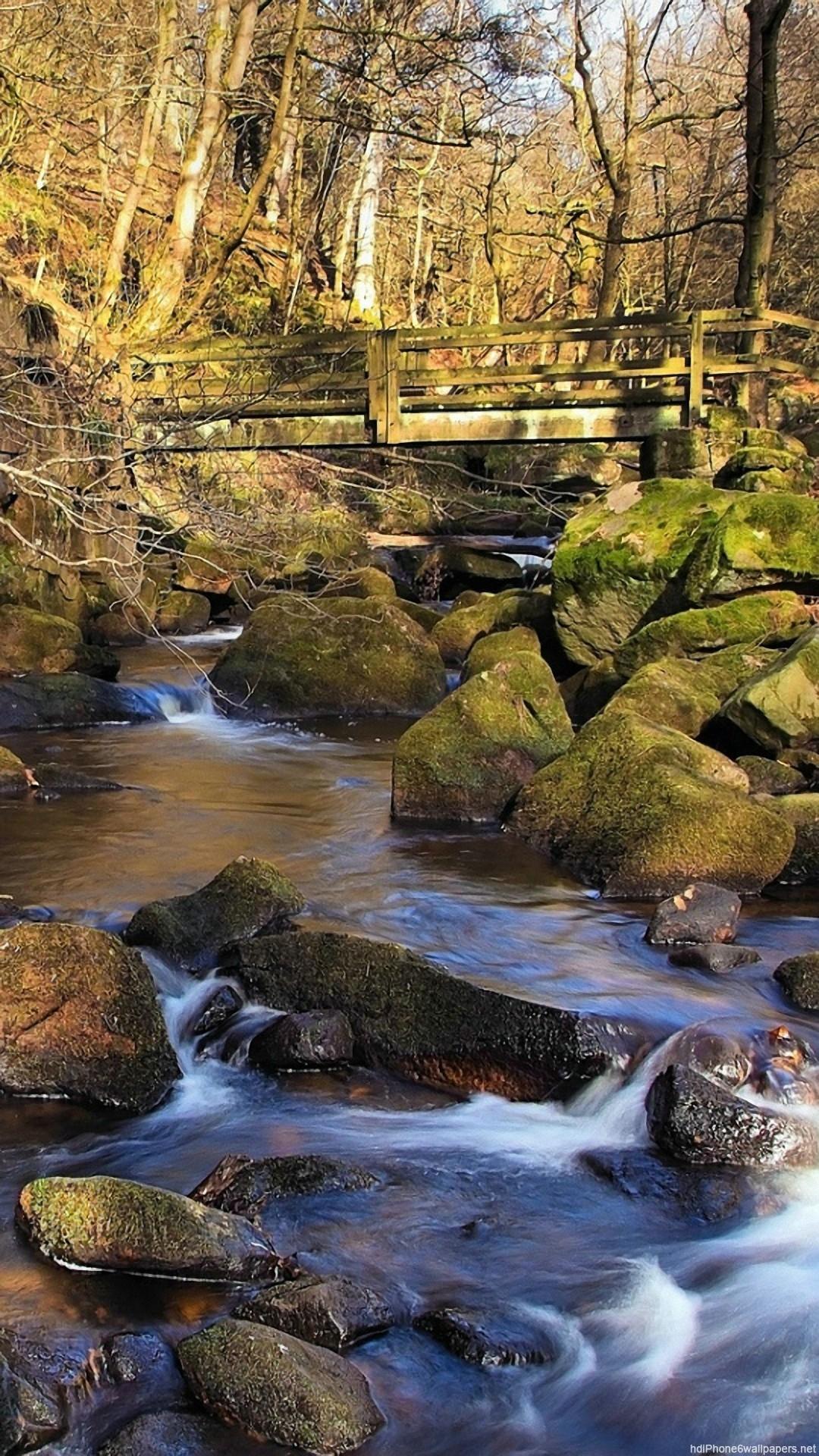 HD rock river bridge spring stream iphone 6 wallpaper