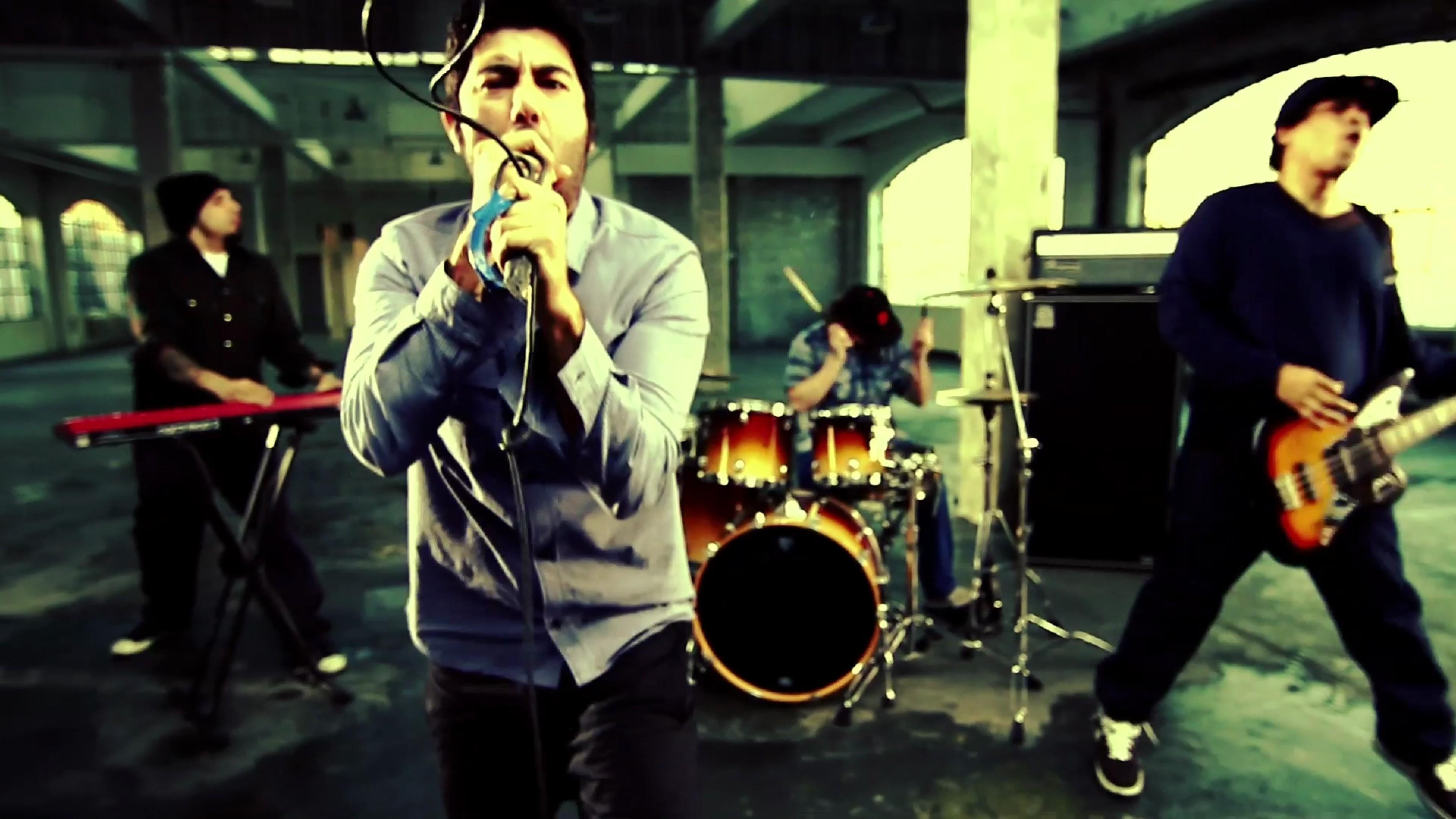 Wallpaper deftones, singer, microphone, guitar, drum