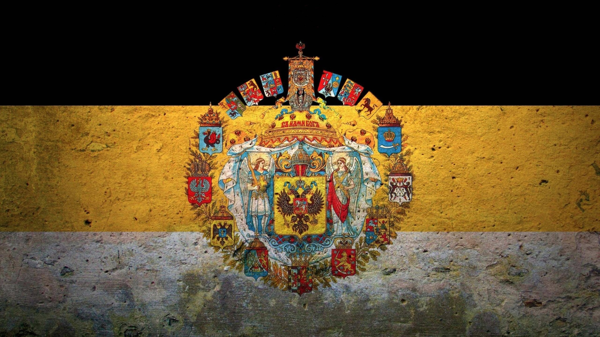 Preview wallpaper flag, coat of arms, russia, empire 1920×1080
