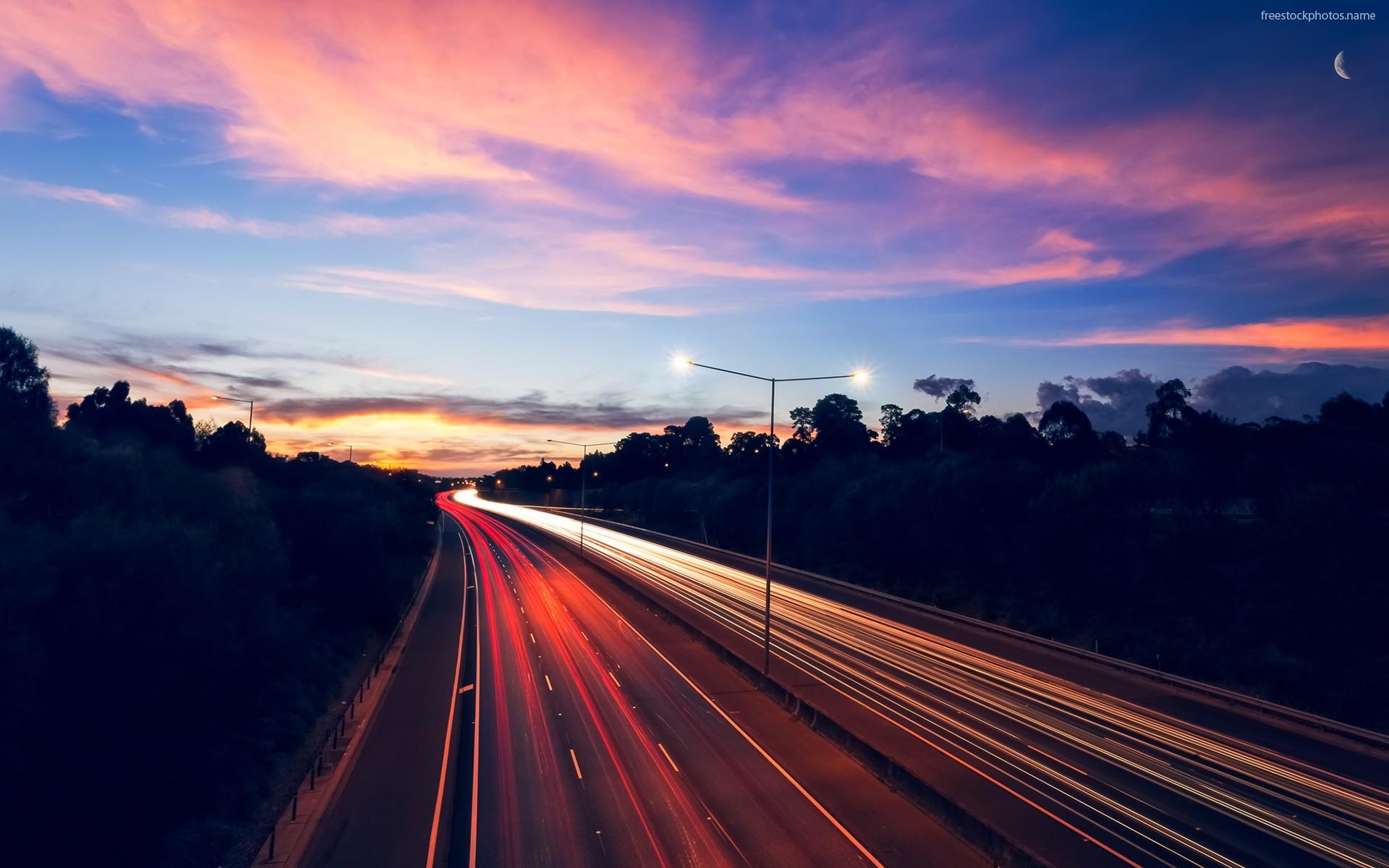 Highway Night Traffic Lights Long Exposure Desktop Wallpaper 1920×1200