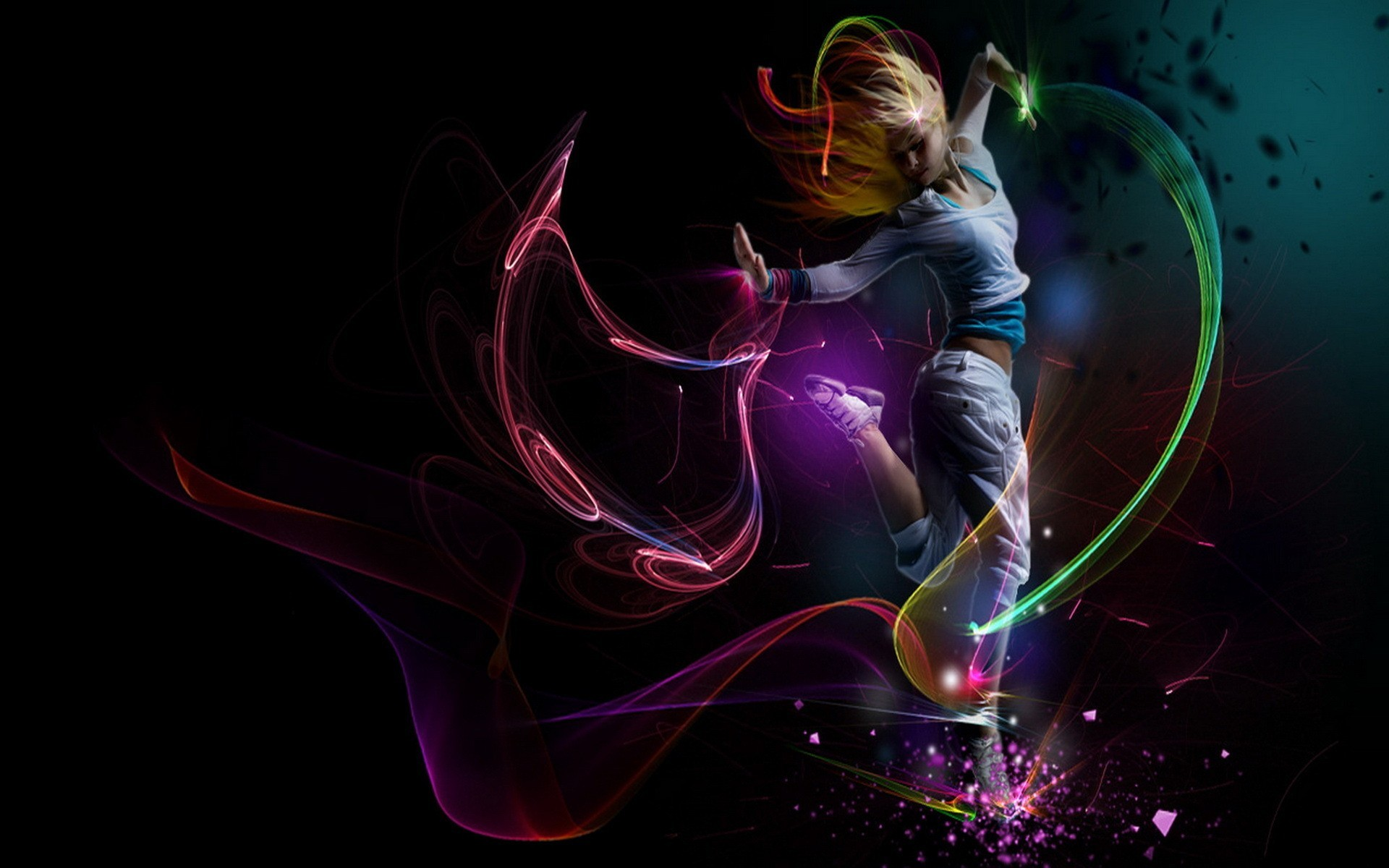 Dance Music Colored Black Wallpaper HD Desktop Mobile #4526729 Wallpaper