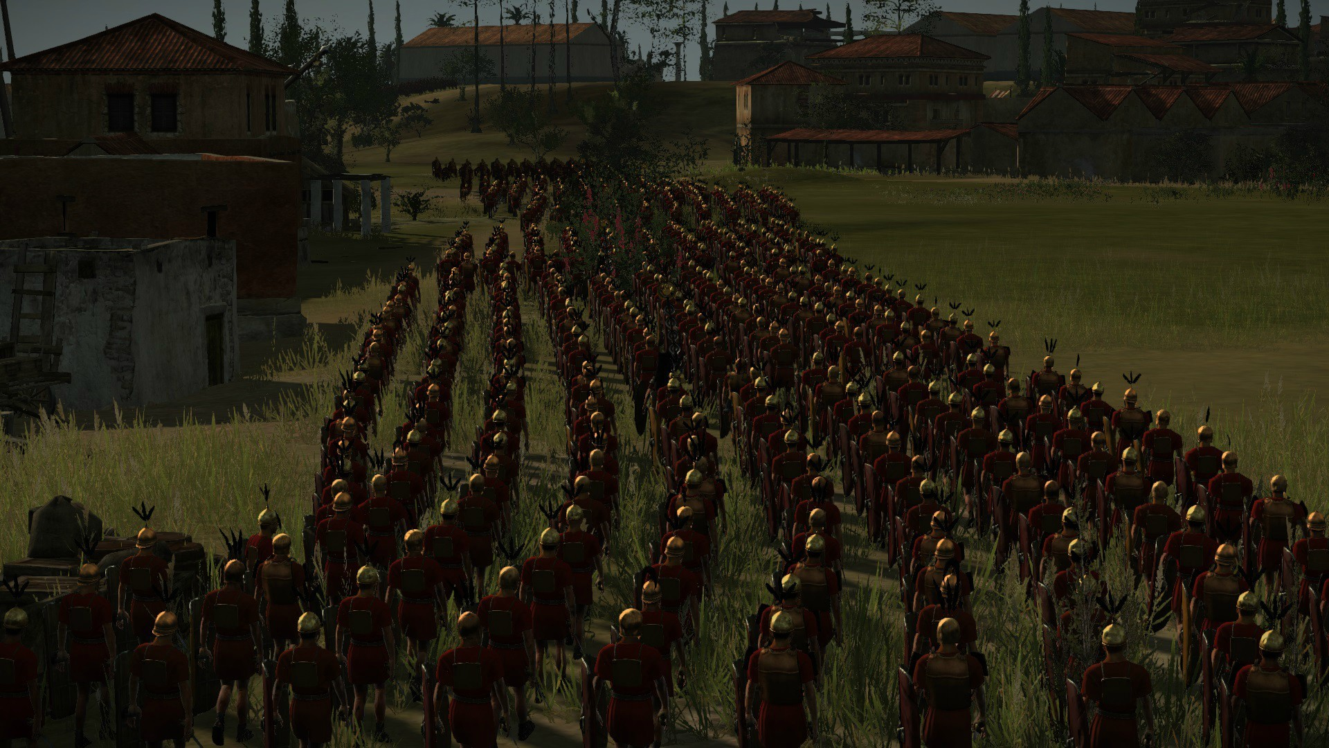 One detachment of the roman legion are caught in a narrow street by the  etruscan spearmen, who put up a tenacious defence.