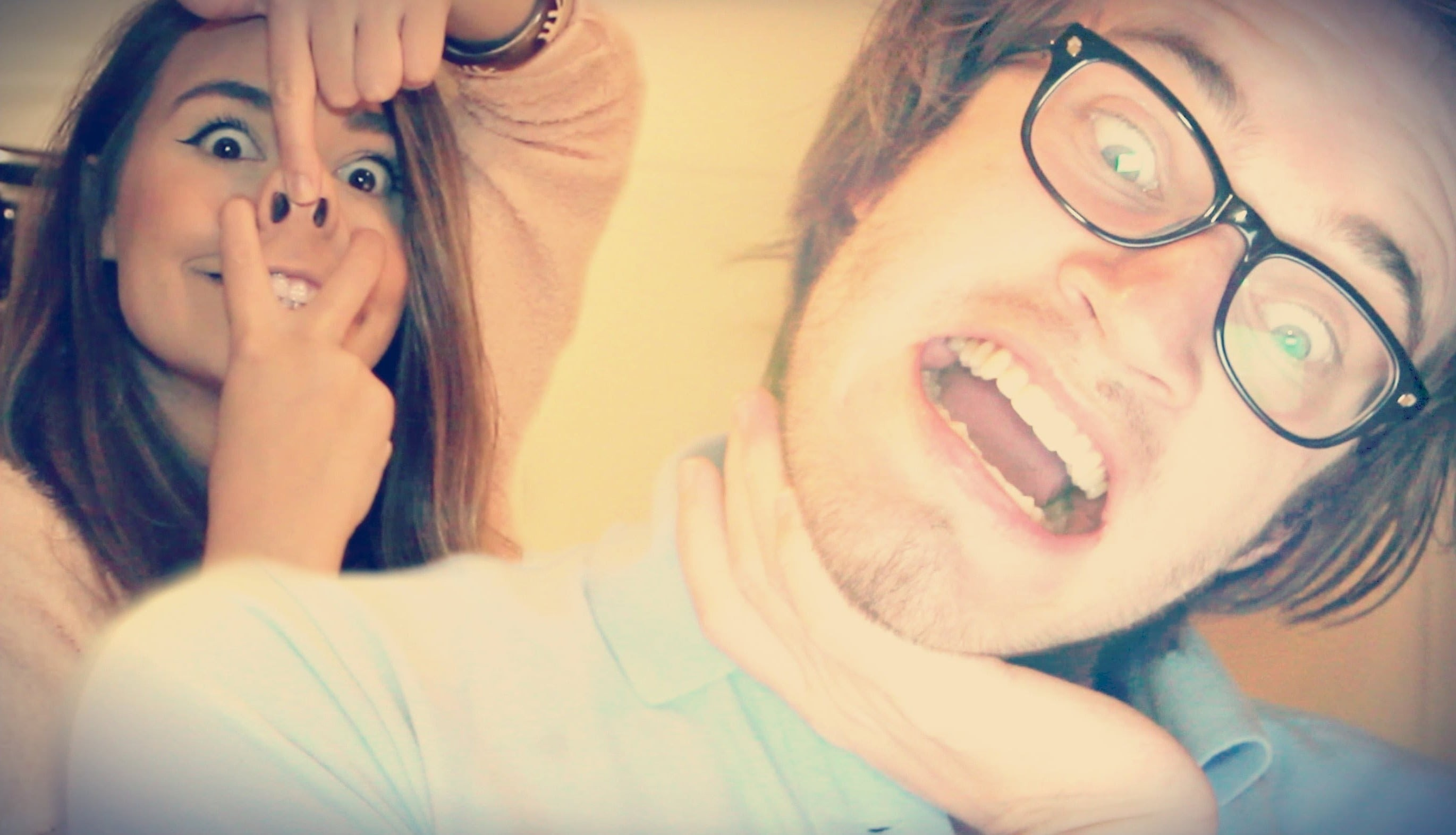 Pewdiepie & Marzia funny faces, A wallpaper of Pewds and Marzia making  silly faces