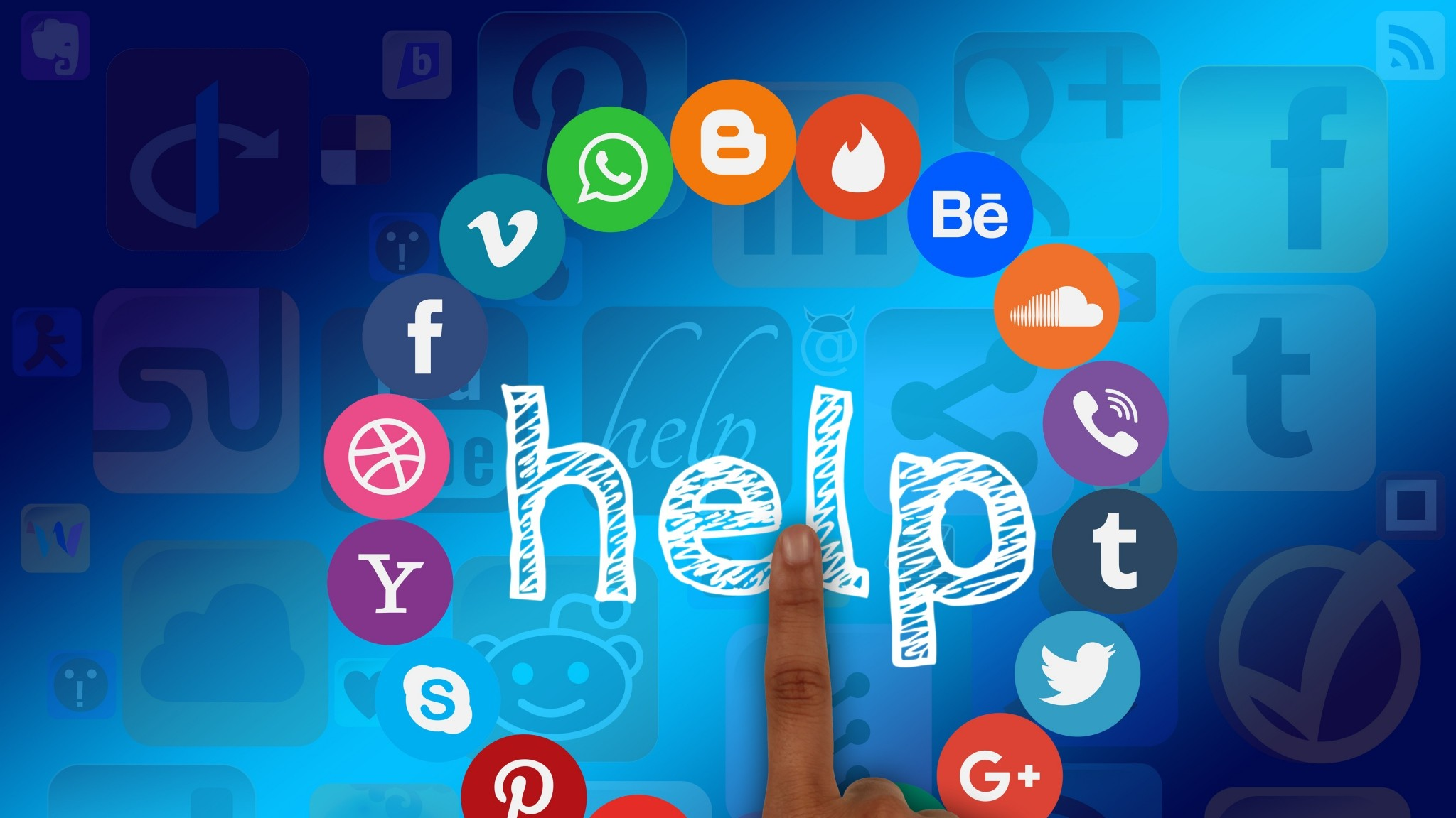Preview wallpaper social networks, youtube, google, picasa, skype, bing,  pinterest