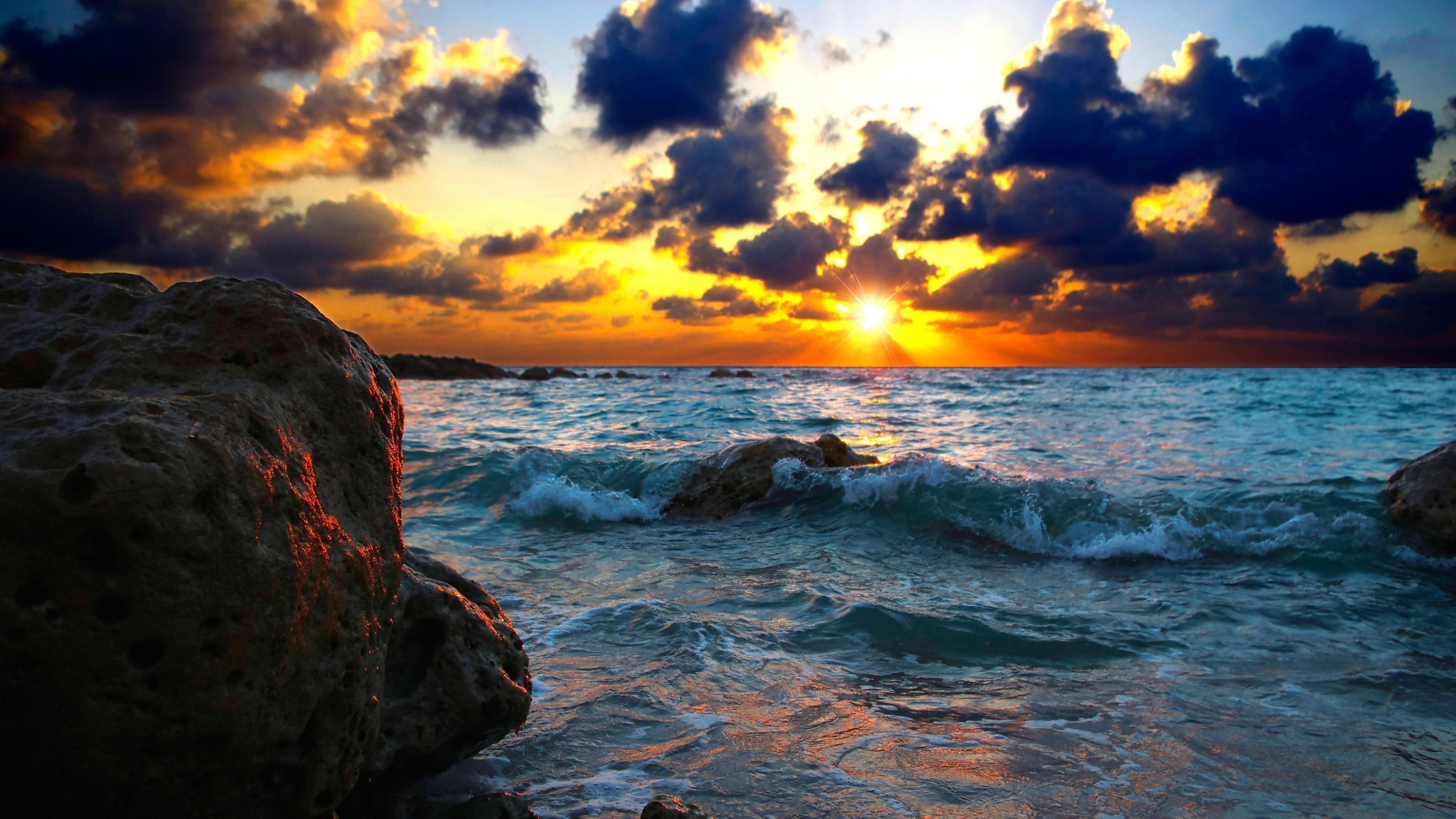 … Background 4K Ultra HD. Wallpaper sea, surf, sunset, stones