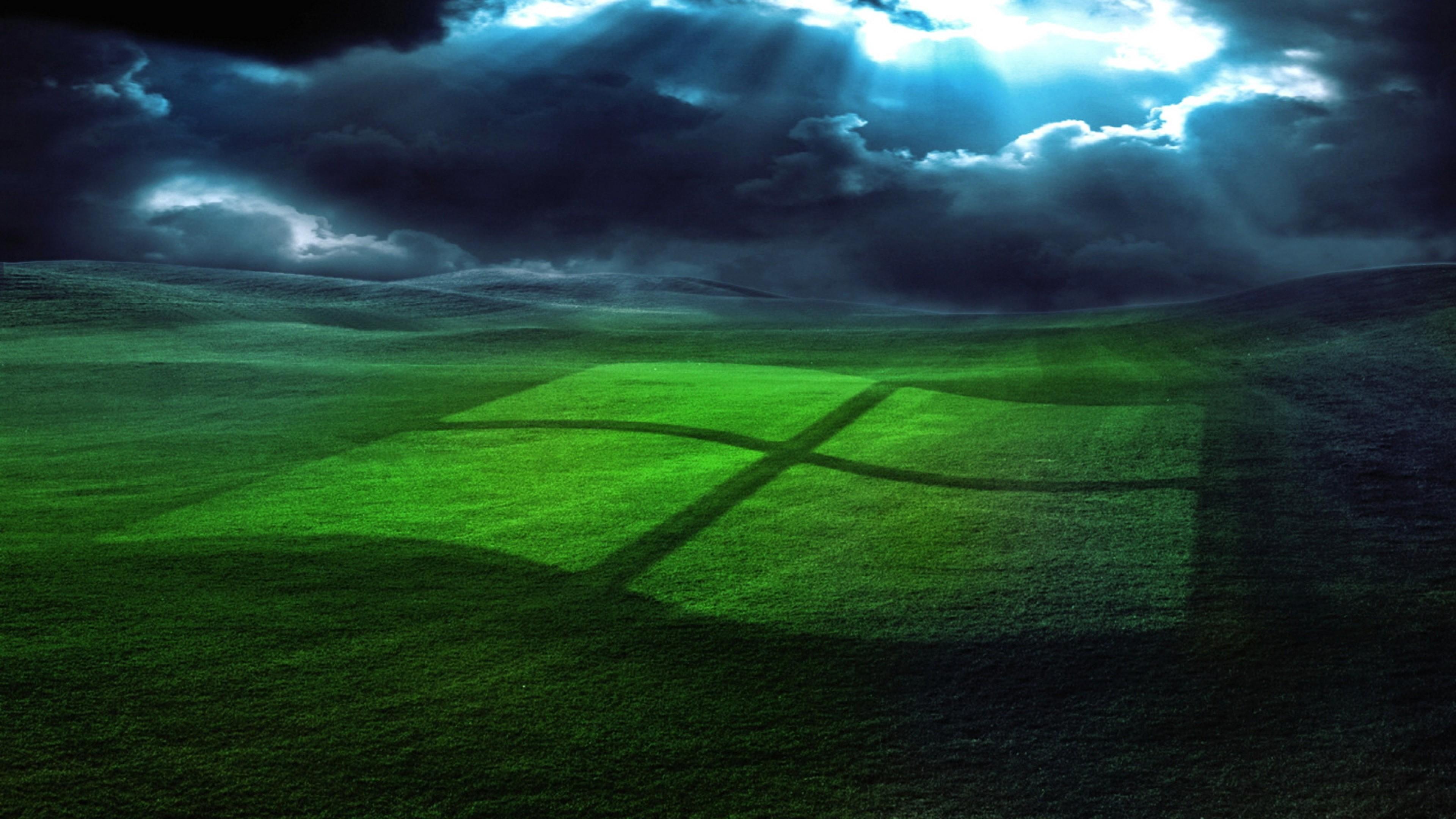 … Background 4K Ultra HD. Wallpaper windows, field, grass,  operating system