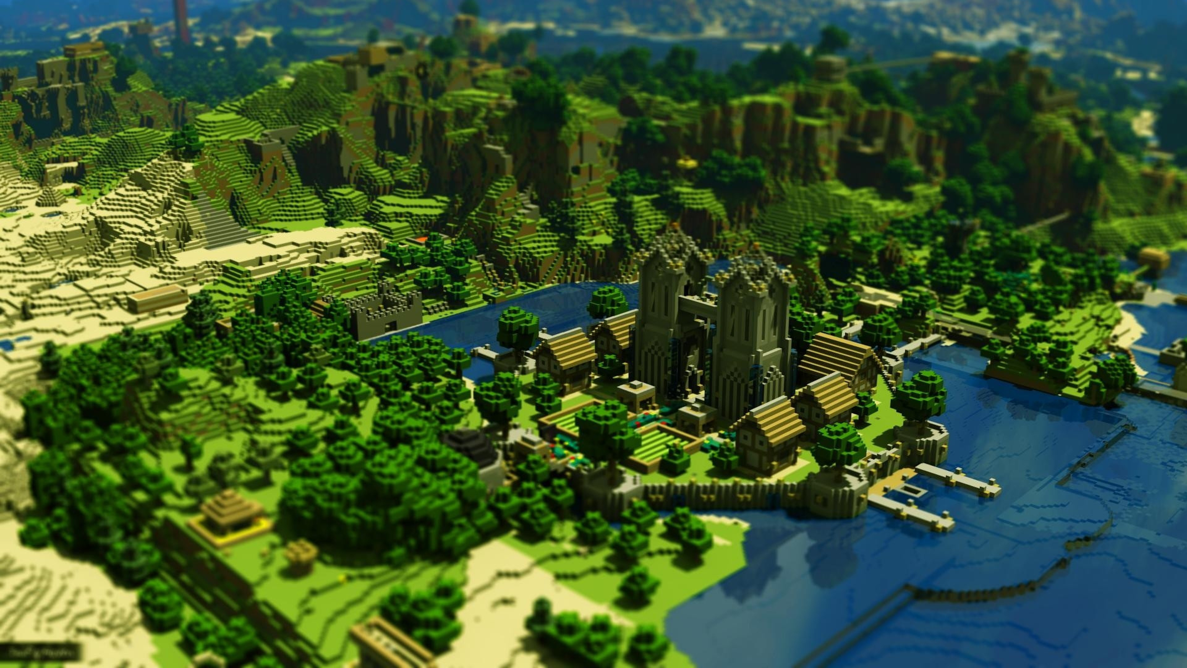 … Background 4K Ultra HD. Wallpaper minecraft, trees, houses,  mountains, water