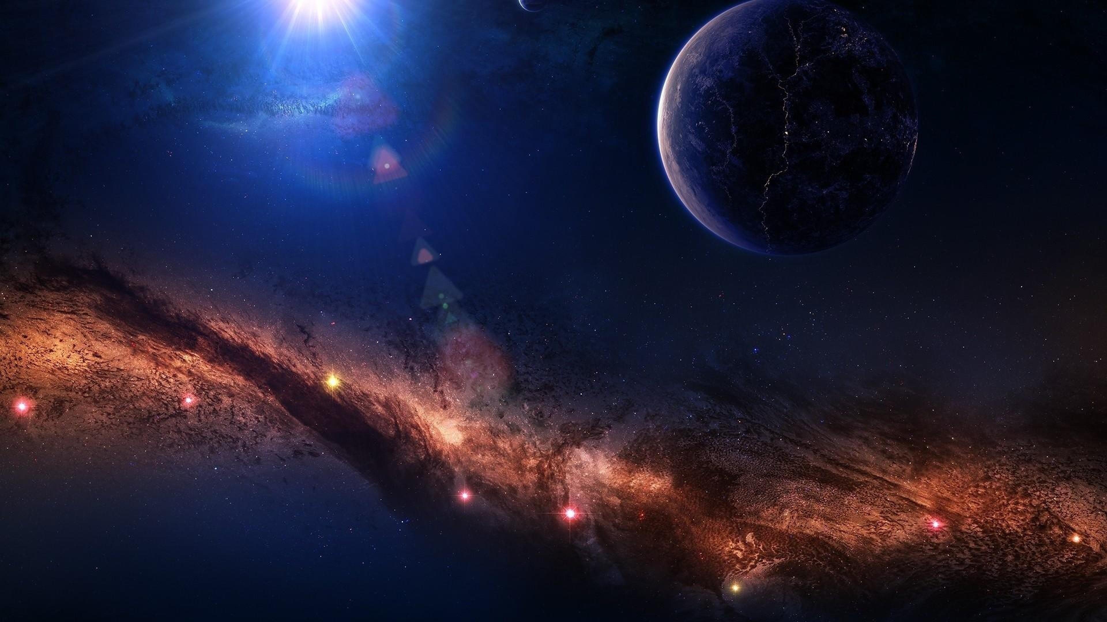 … Background 4K Ultra HD. Wallpaper planet, light, stars, nebula