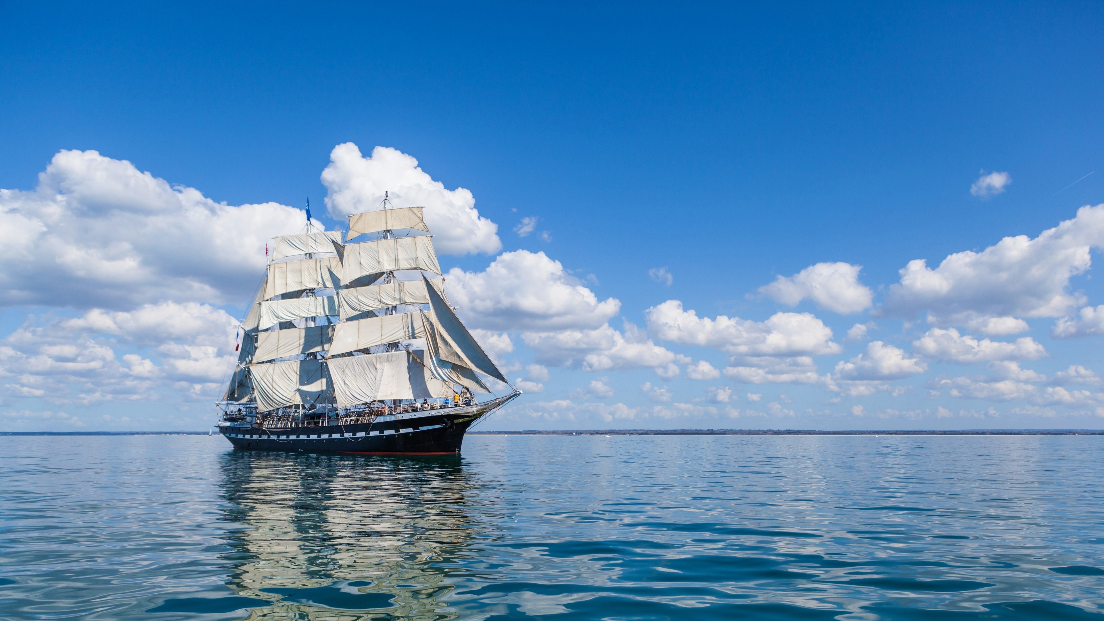 … Background 4K Ultra HD. Wallpaper sea, sail, ship, clouds