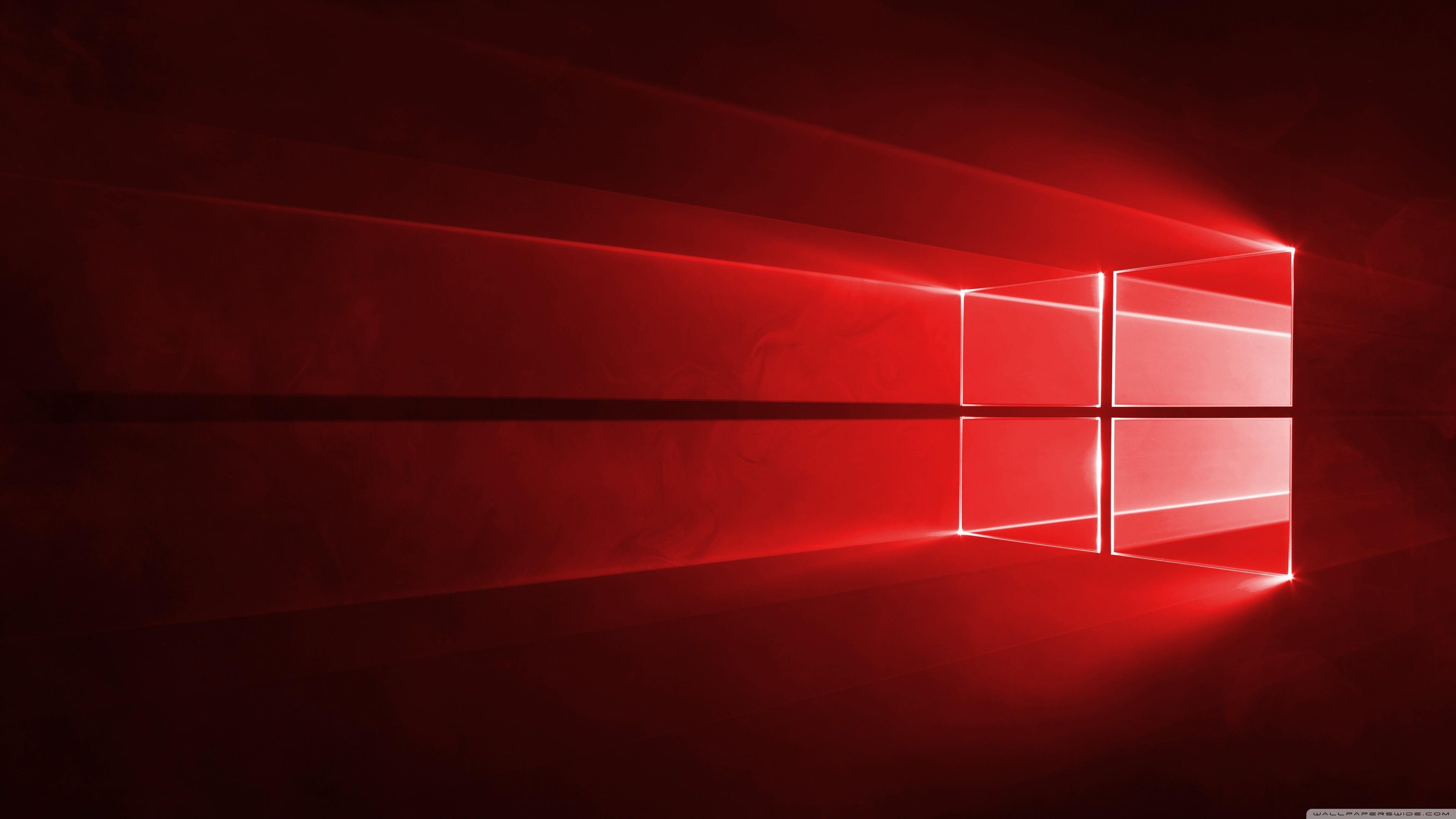 Windows 10 Red in 4K HD Wide Wallpaper for Widescreen