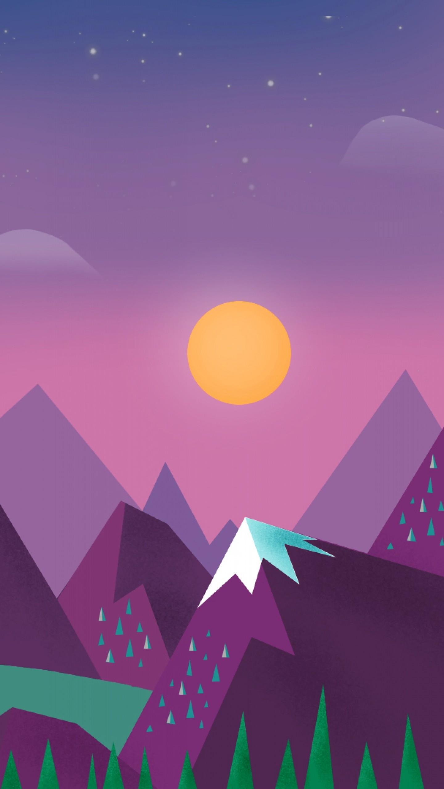 Download Wallpaper Minimalism, Sky, Clouds, Sun, Mountains, Lake,  Landscape