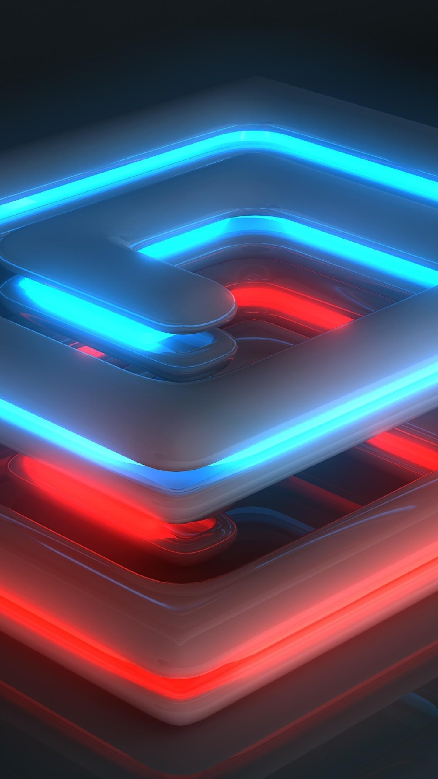 Preview wallpaper neon, light, spiral, shape, surface, luster 1440×2560