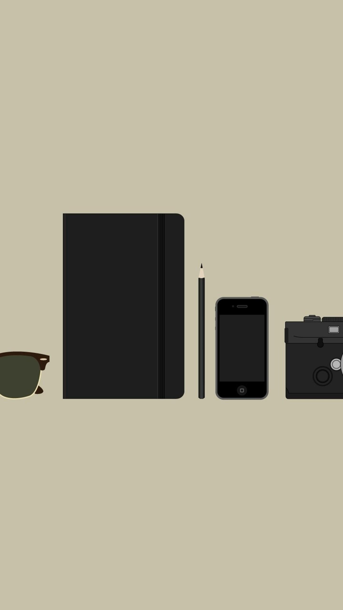 Wallpaper objects, camera, sunglasses, wallets, phones, minimalism