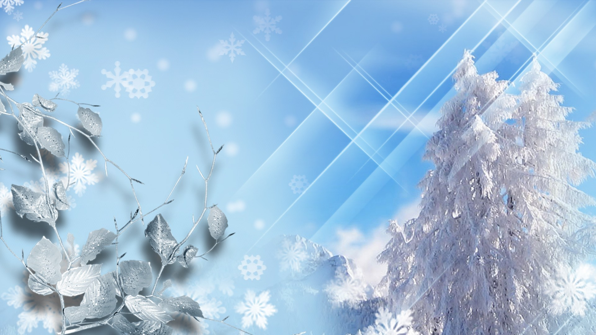Sparkle Tag – Sky Winter Cold Bright Leaves Trees Blue Freeze Sparkle Stars  Snowing World Snow