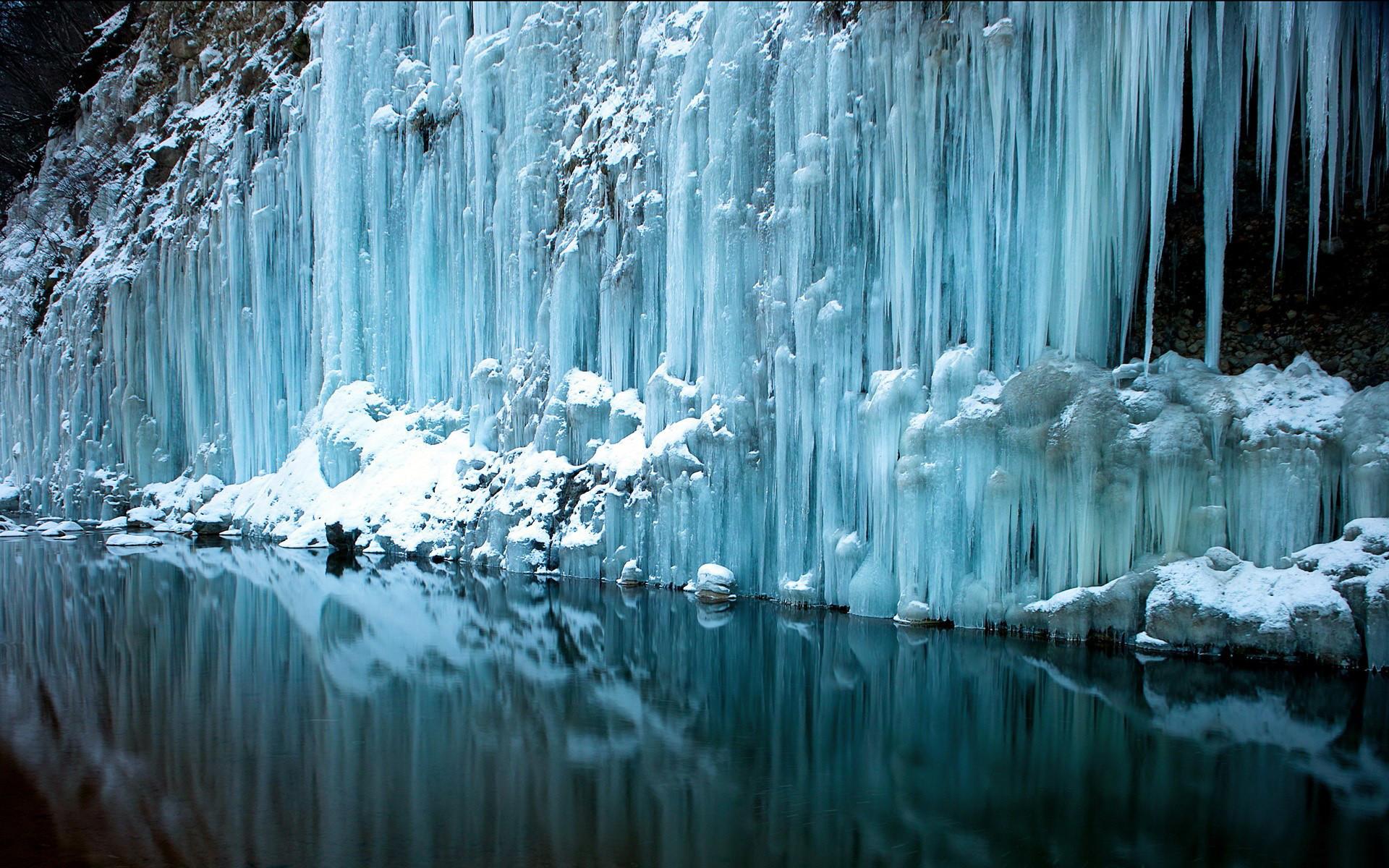 waterfall water reflection rivers freeze frozen snow winter wallpaper .