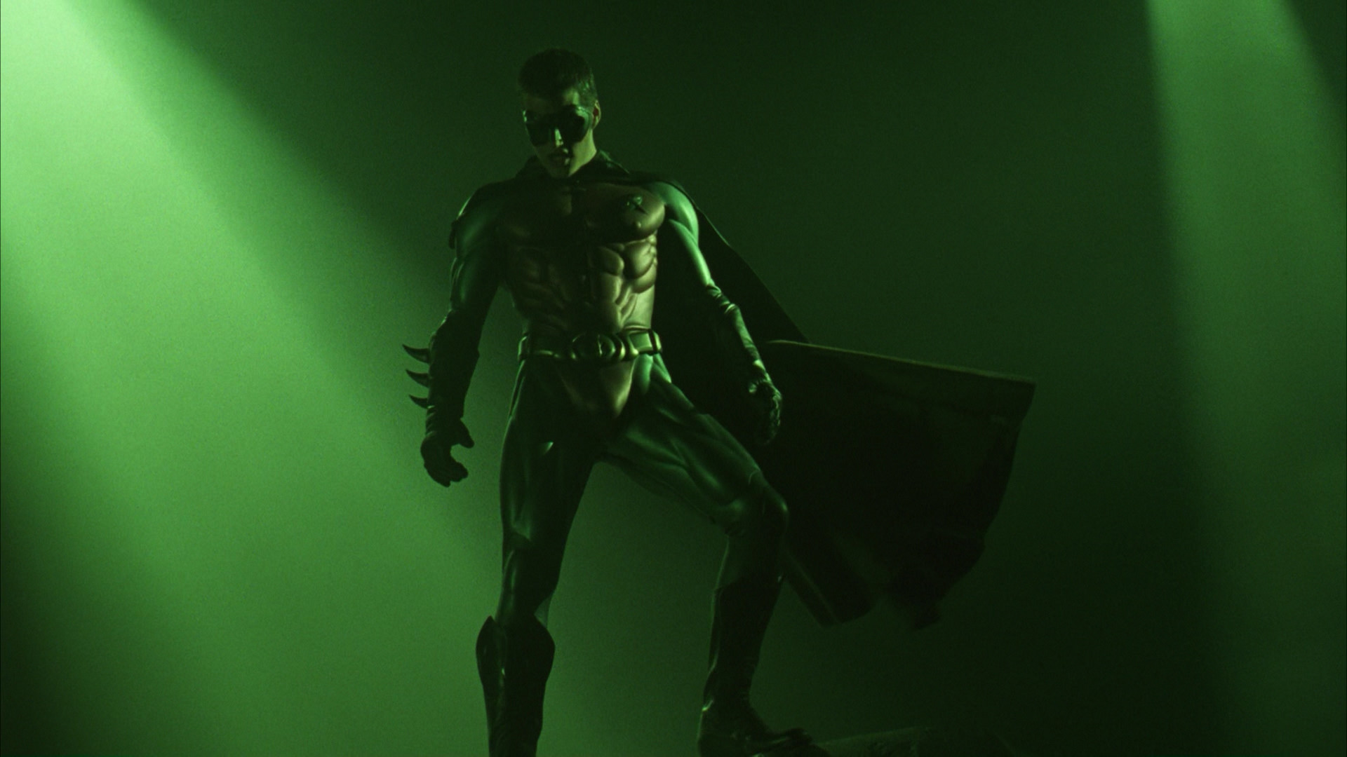 The climax of the movie begins when Two-Face and the Riddler break into  Wayne Manor, where the Riddler tells Two-Face and his men not to kill  anyone.