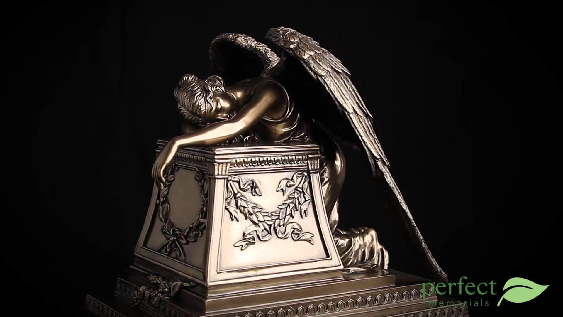 Medium Bronze Weeping Angel by Perfect Memorials