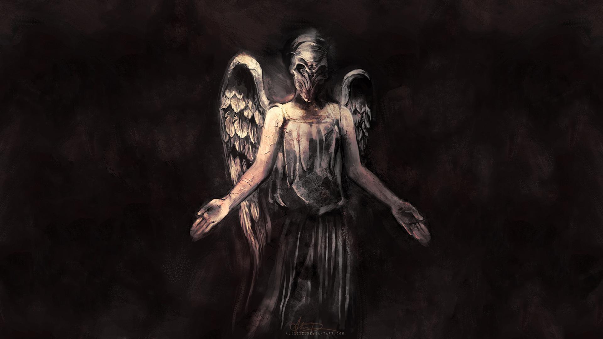 Doctor Who The Silence angels dark fallen wings fantasy evil scary spooky  creepy horror fantasy mask art wallpaper