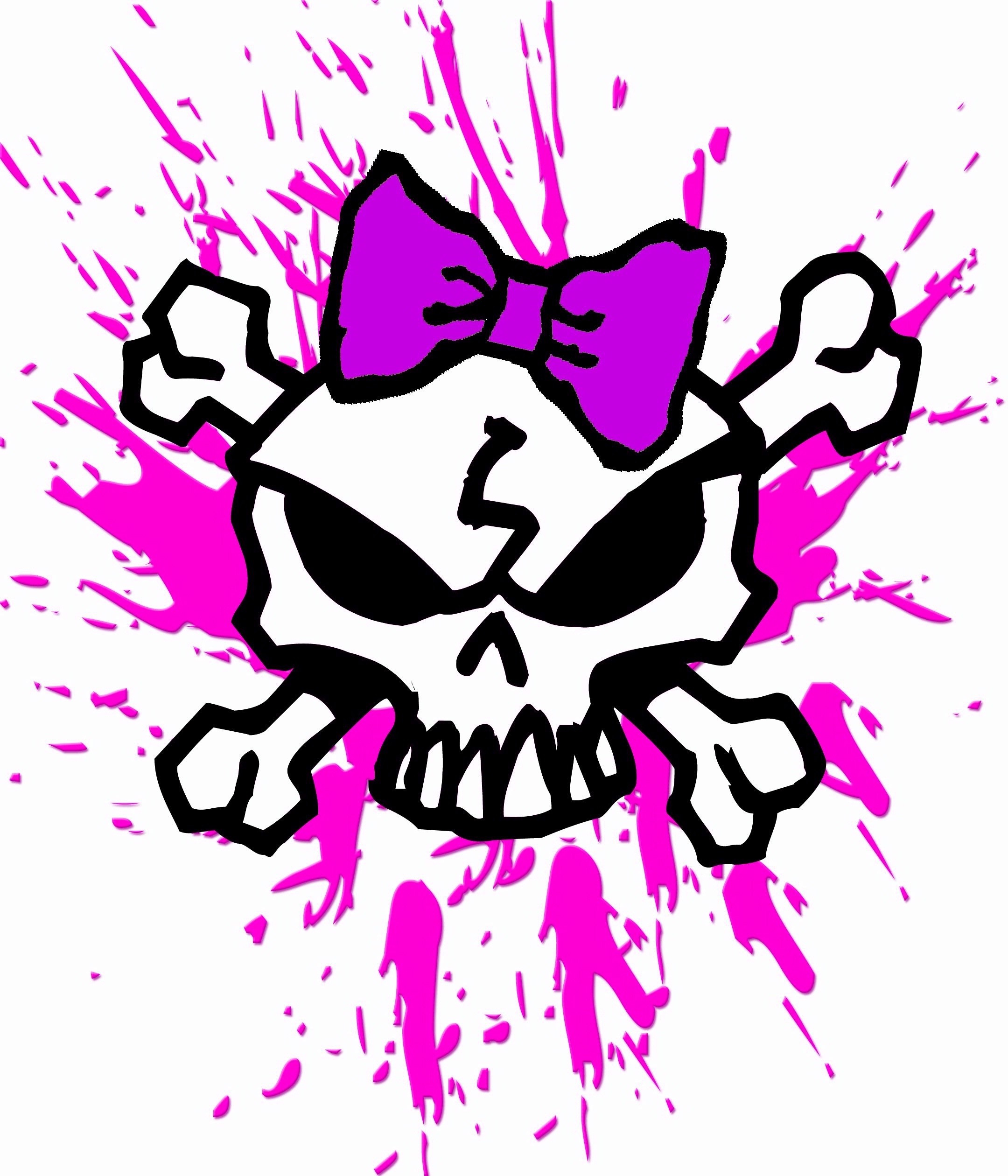 GIRLY SKULL WITH BOW AND PINK BLOOD SPLATTERS, GIRL SKULL T-Shirt .